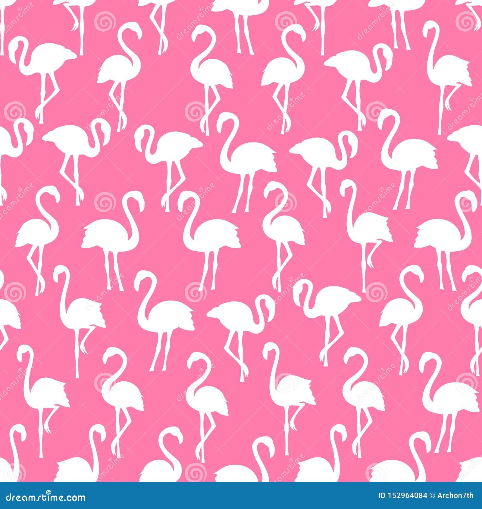 Картина белых силуэтов фламинго безшовная на розовой предпосылке