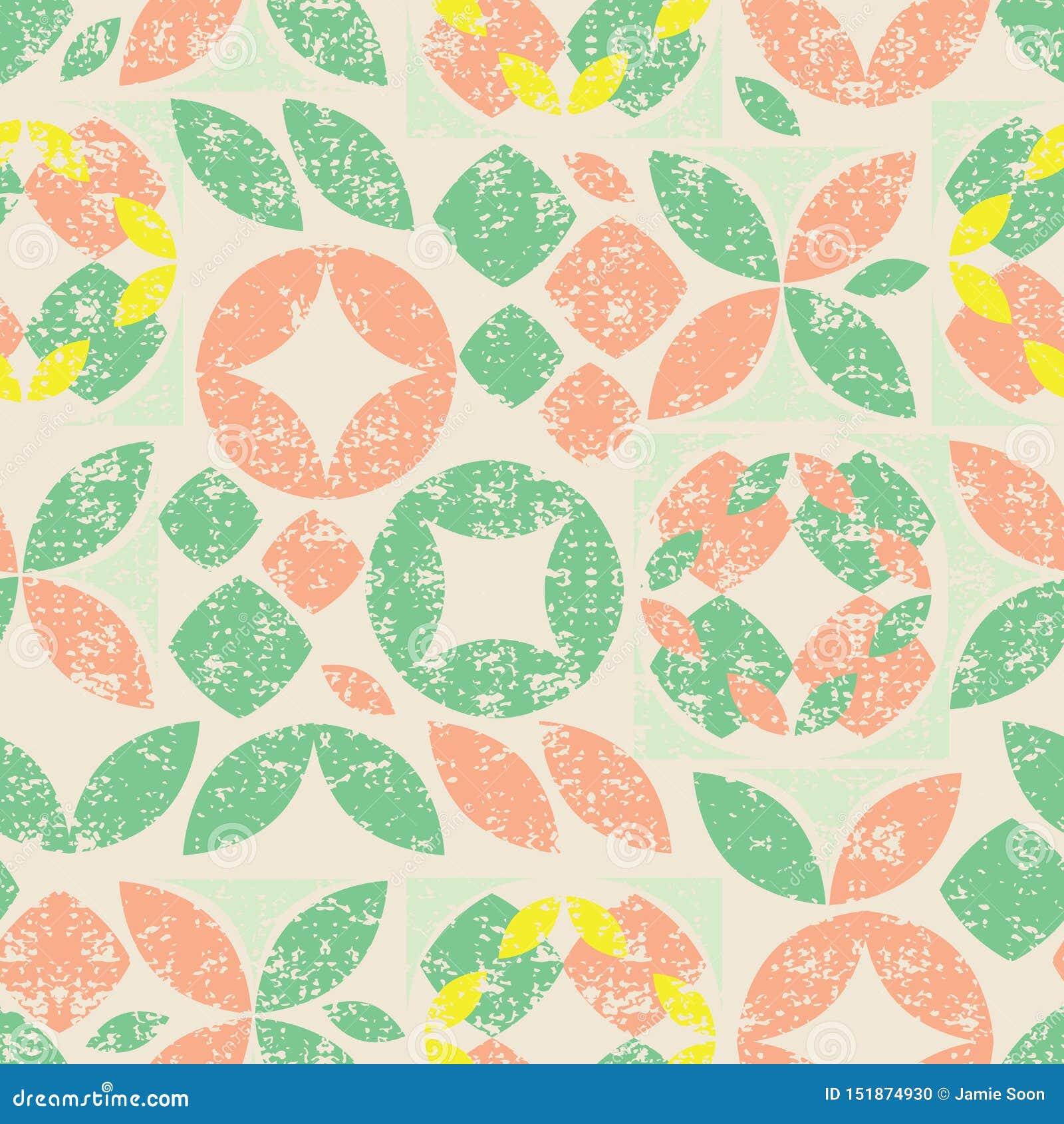 Картина вектора бежевая безшовная красочной абстрактной геометрической формы с текстурой grunge Соответствующий для ткани, обруча