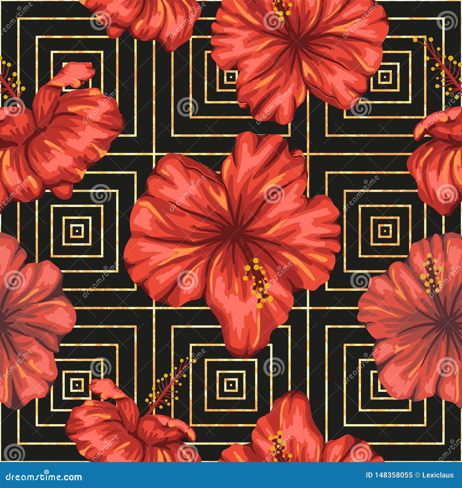 Картина вектора безшовная геометрическая с яркими красными цветками гибискуса на черной предпосылке
