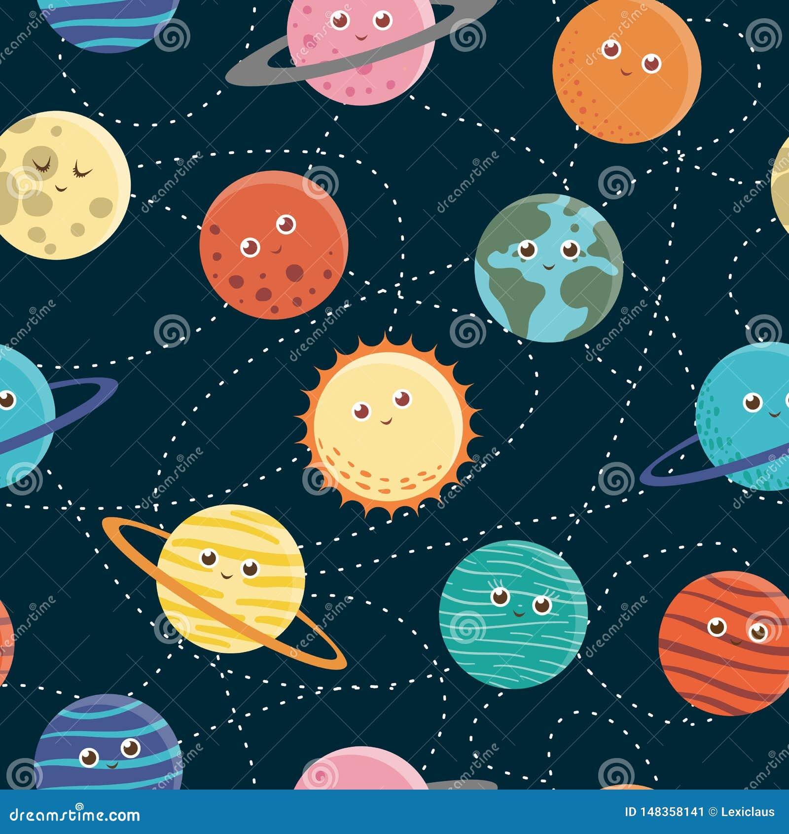 Картина вектора безшовная планет для детей