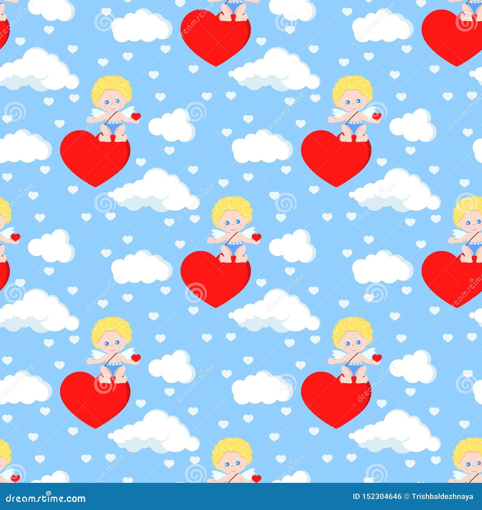 Картина вектора безшовная романтичная с милым купидоном сидя на сердце