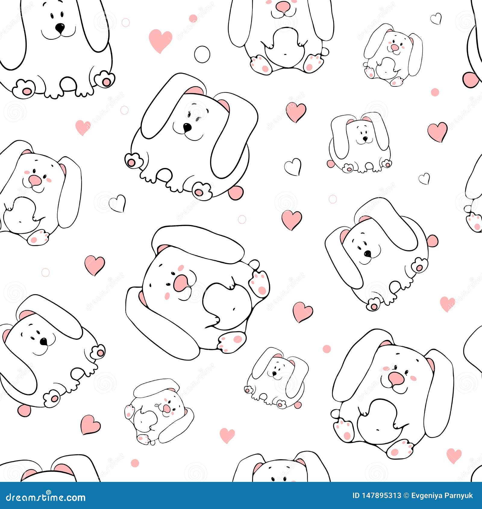 Картина вектора безшовная с нарисованными вручную смешными милыми жирными животными Силуэты животных на белой предпосылке Текстур