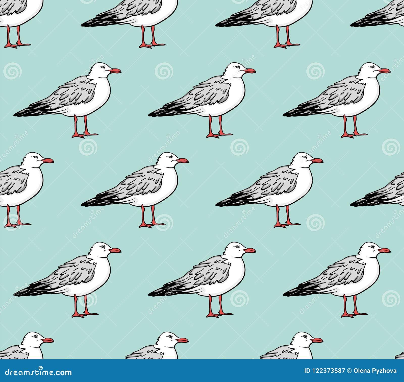 Картина вектора безшовная с чайками
