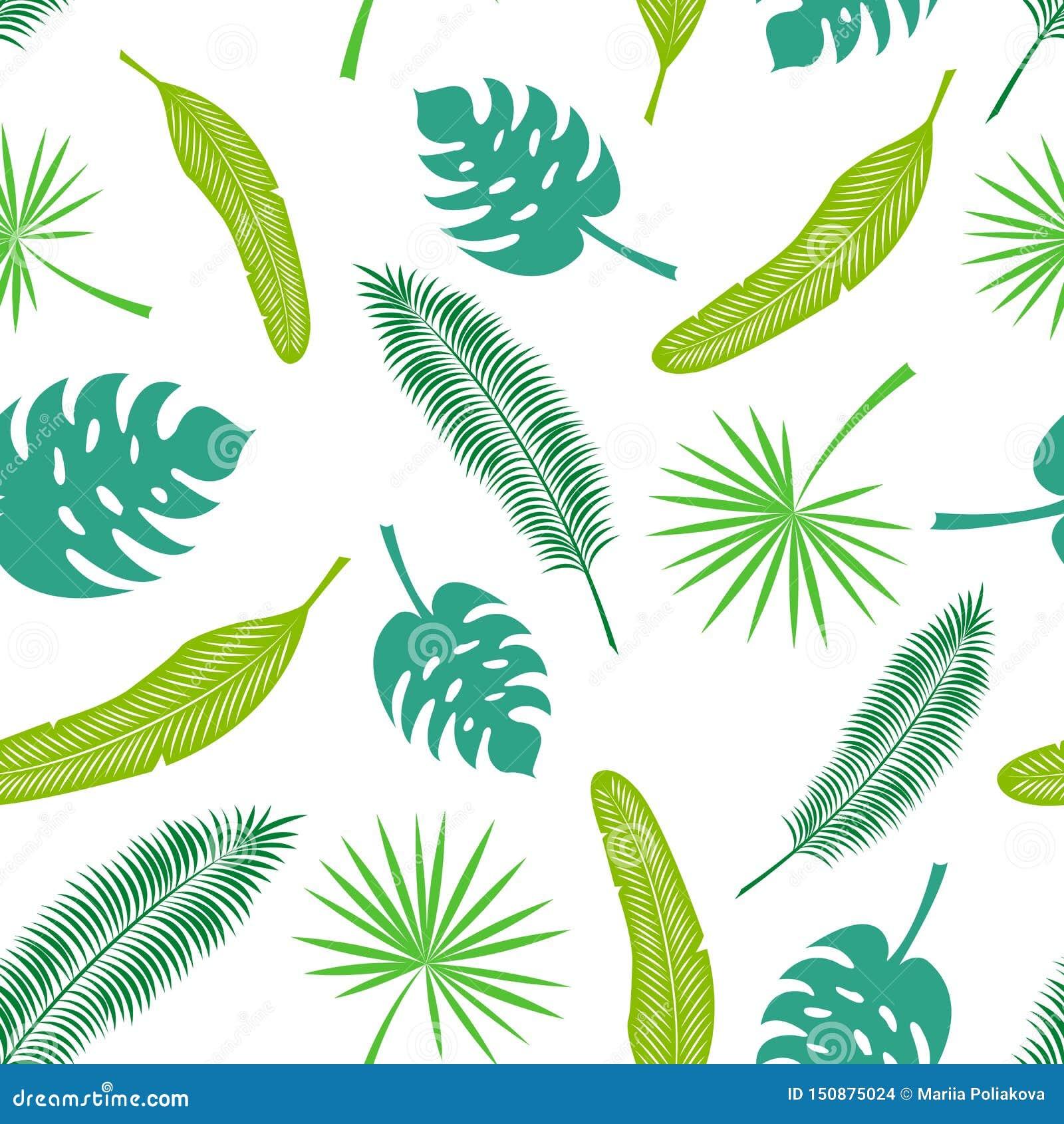 Картина вектора безшовная тропических листьев