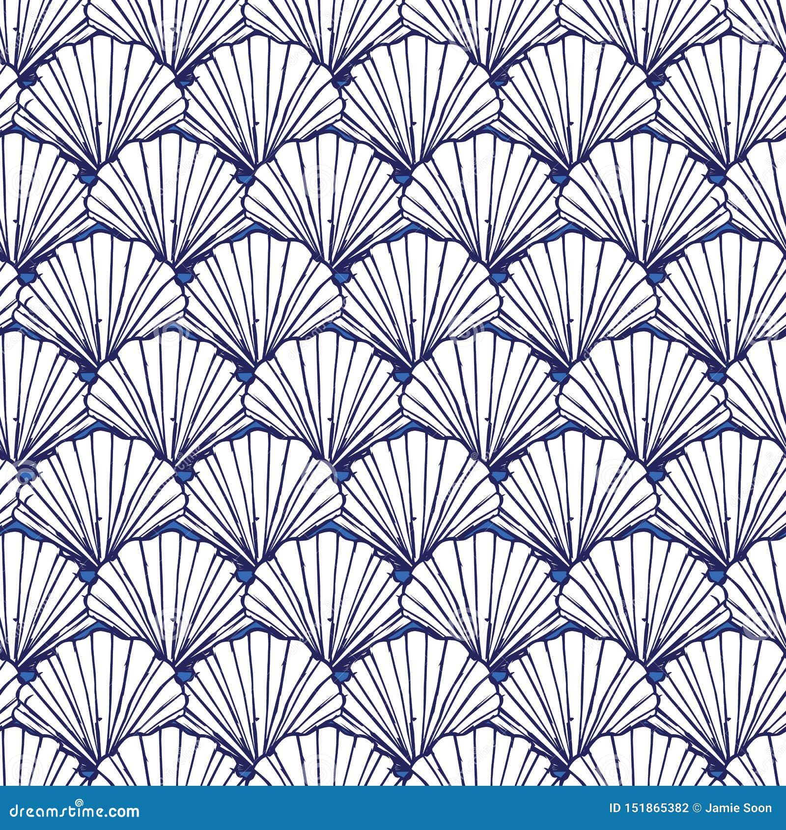 Картина вектора голубая и белая seashells повторения Соответствующий для обруча, ткани и обоев подарка
