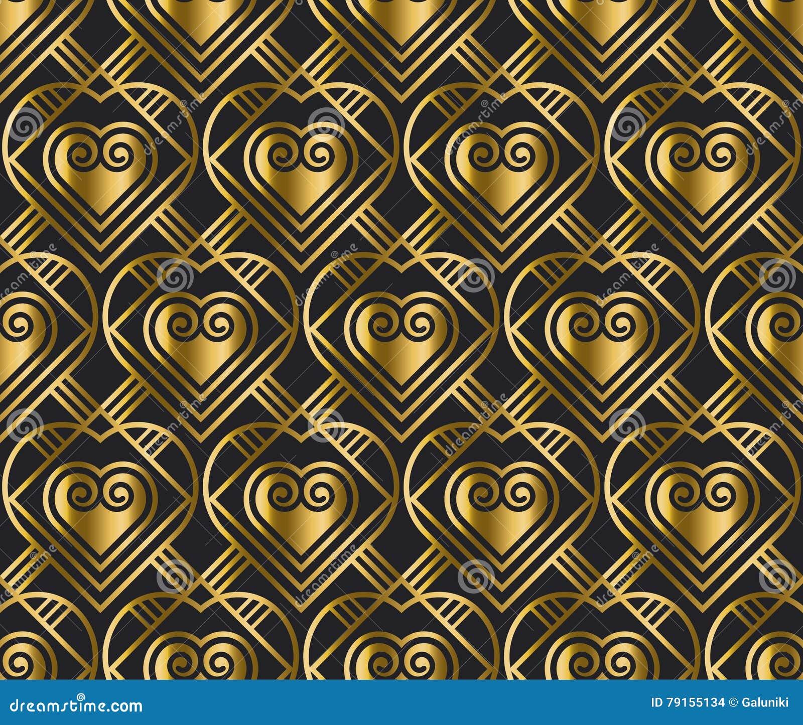 Картина вектора золота с сердцем в стиле стиля Арт Деко