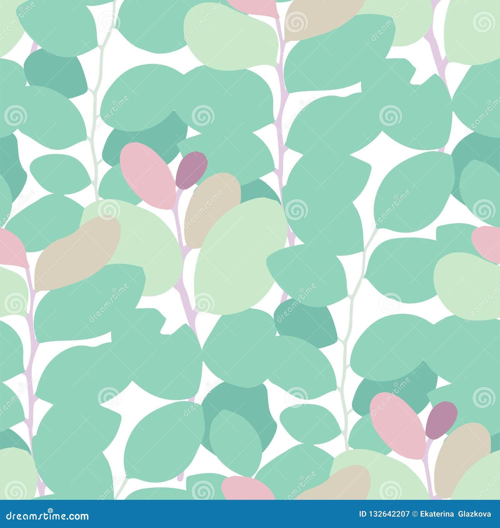 Картина вектора конспекта безшовная экзотических листьев в ярких цветах