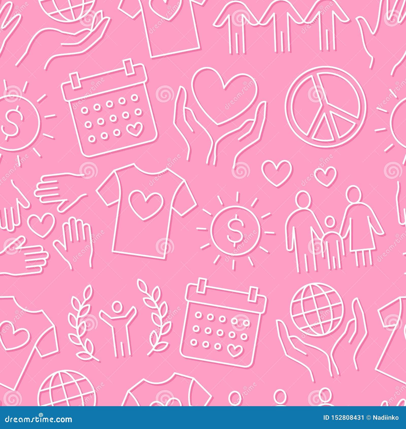 Картина вектора призрения безшовная с плоской линией значками Пожертвование, некоммерческая организация, НЕПРАВИТЕЛЬСТВЕННАЯ ОРГА