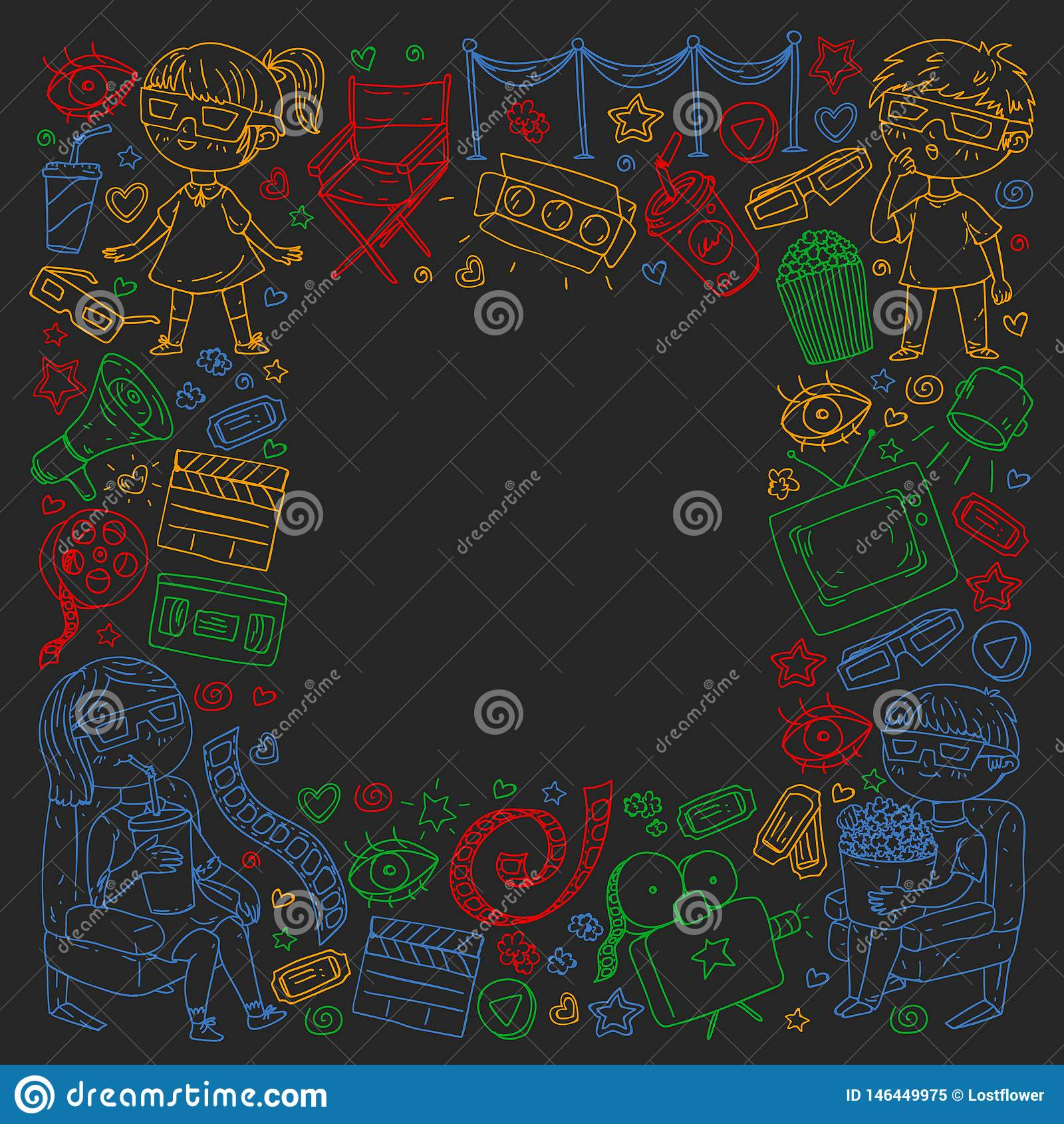 Картина вектора со значками кино кинотеатра, ТВ, попкорна, видеоклипа