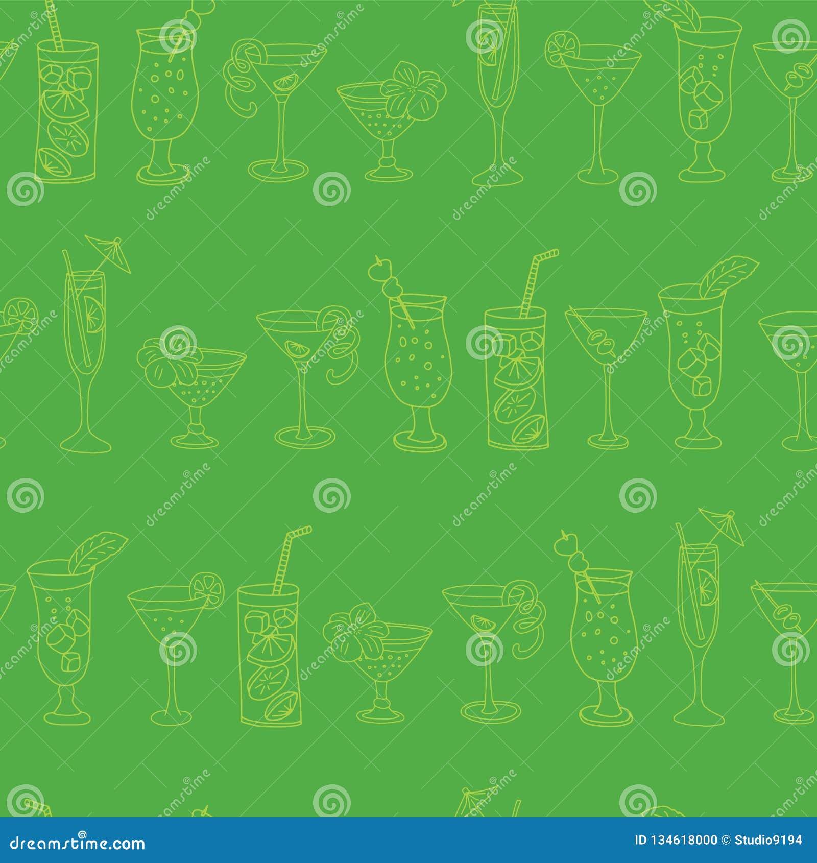 Картина вектора стекел коктеиля безшовная Стекла известки выпивая в ряд на зеленой предпосылке с приветственными восклицаниями по