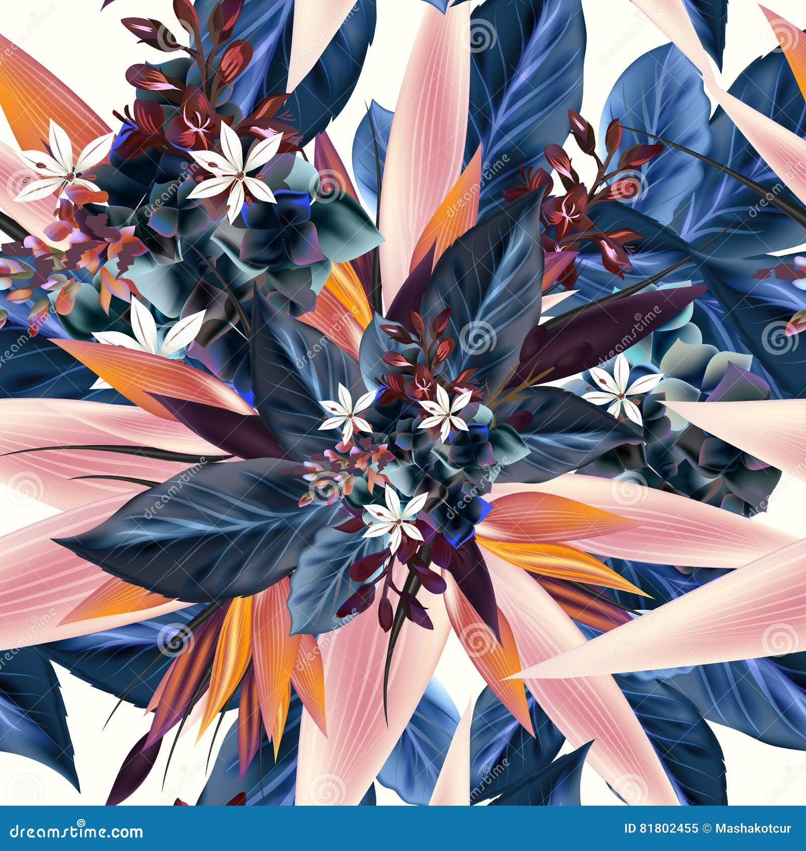 Картина вектора с тропическими заводами, листьями Идеал для ткани p