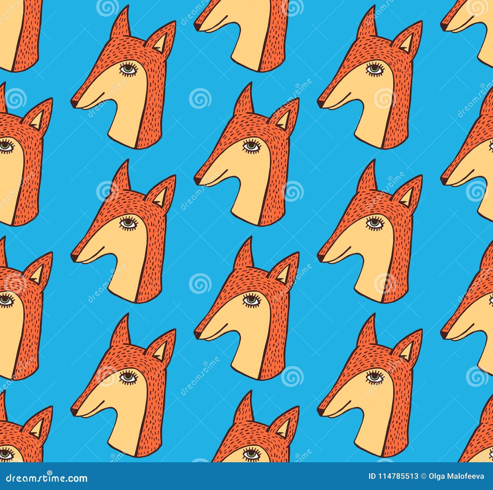 Картина вектора Fox милой нарисованная рукой безшовная