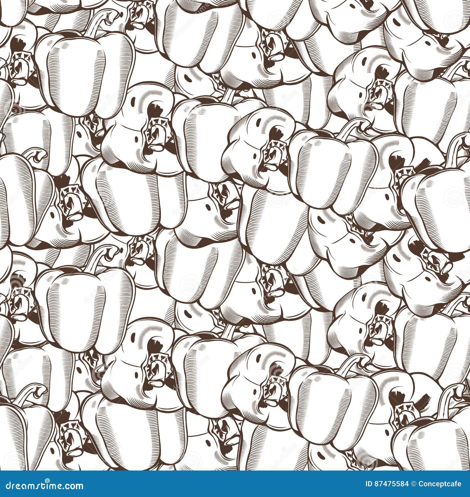 Картина винтажного перца безшовная