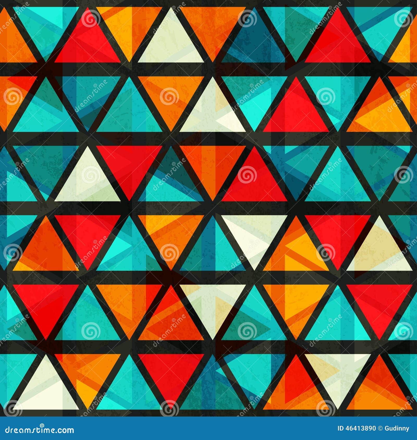 Картина винтажного яркого треугольника безшовная с влиянием grunge
