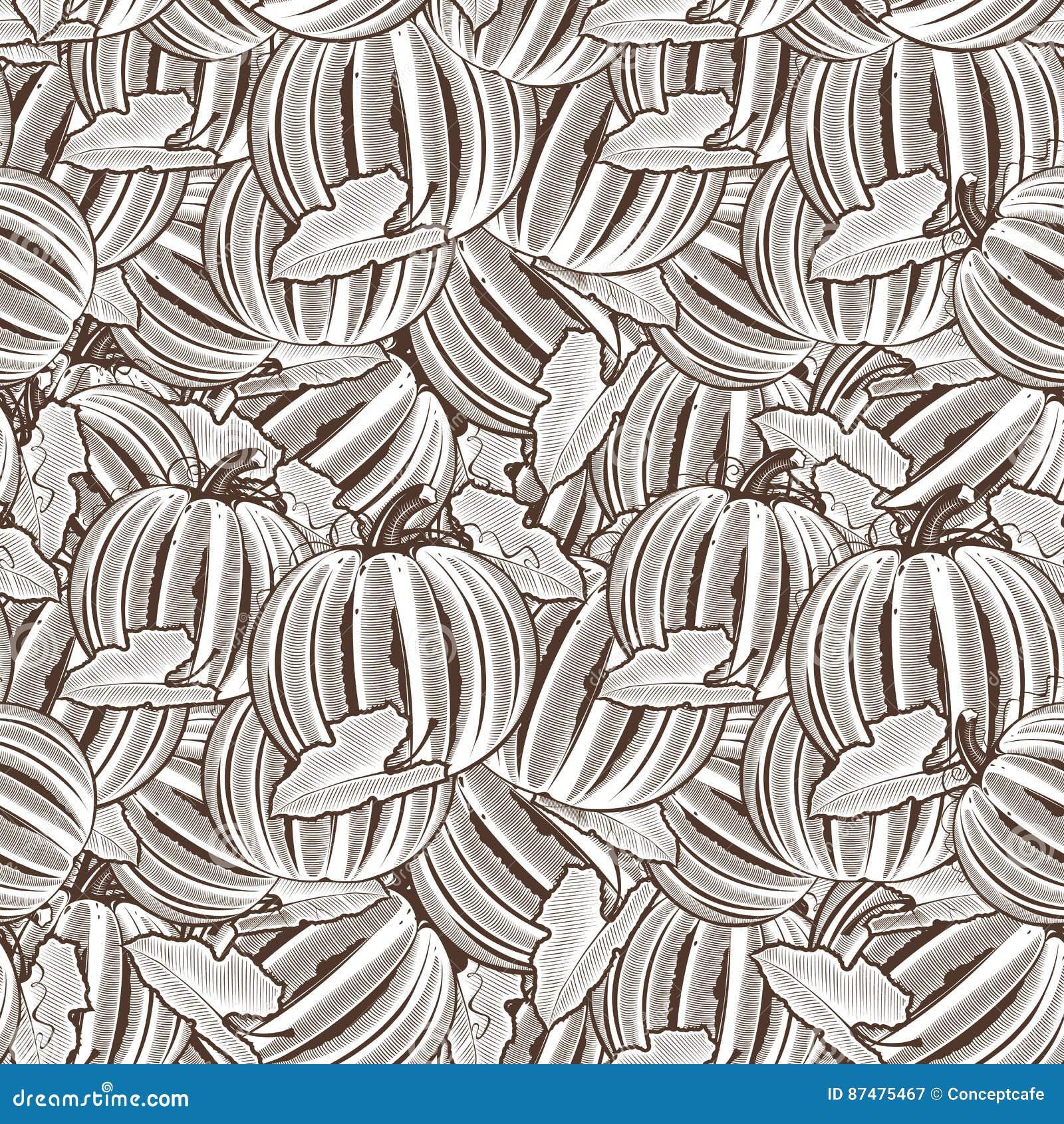 Картина винтажной тыквы безшовная