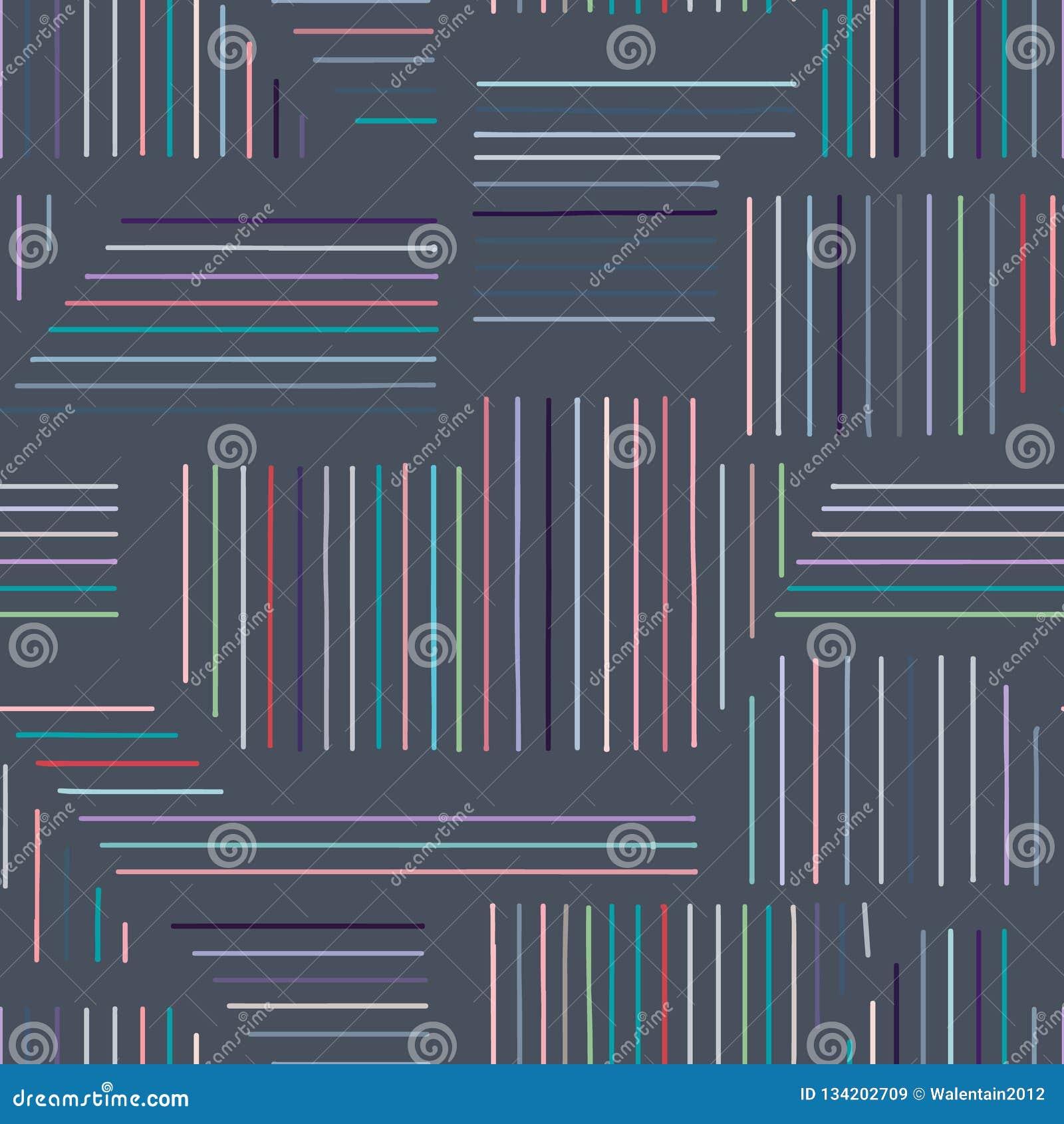 Картина геометрического вектора безшовная с различными геометрическими формами Striped квадрат, треугольник, прямоугольник Соврем