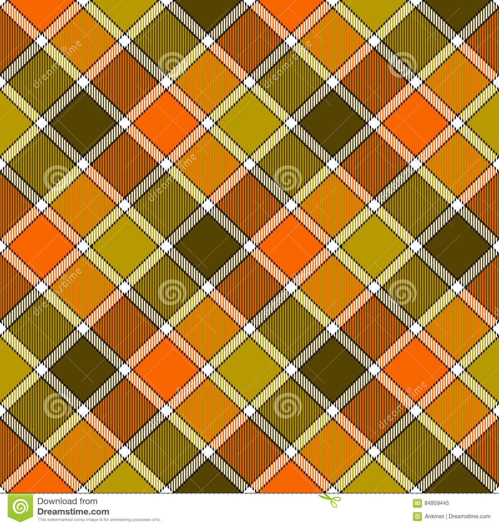 Картина зеленой оранжевой раскосной шотландки проверки безшовная