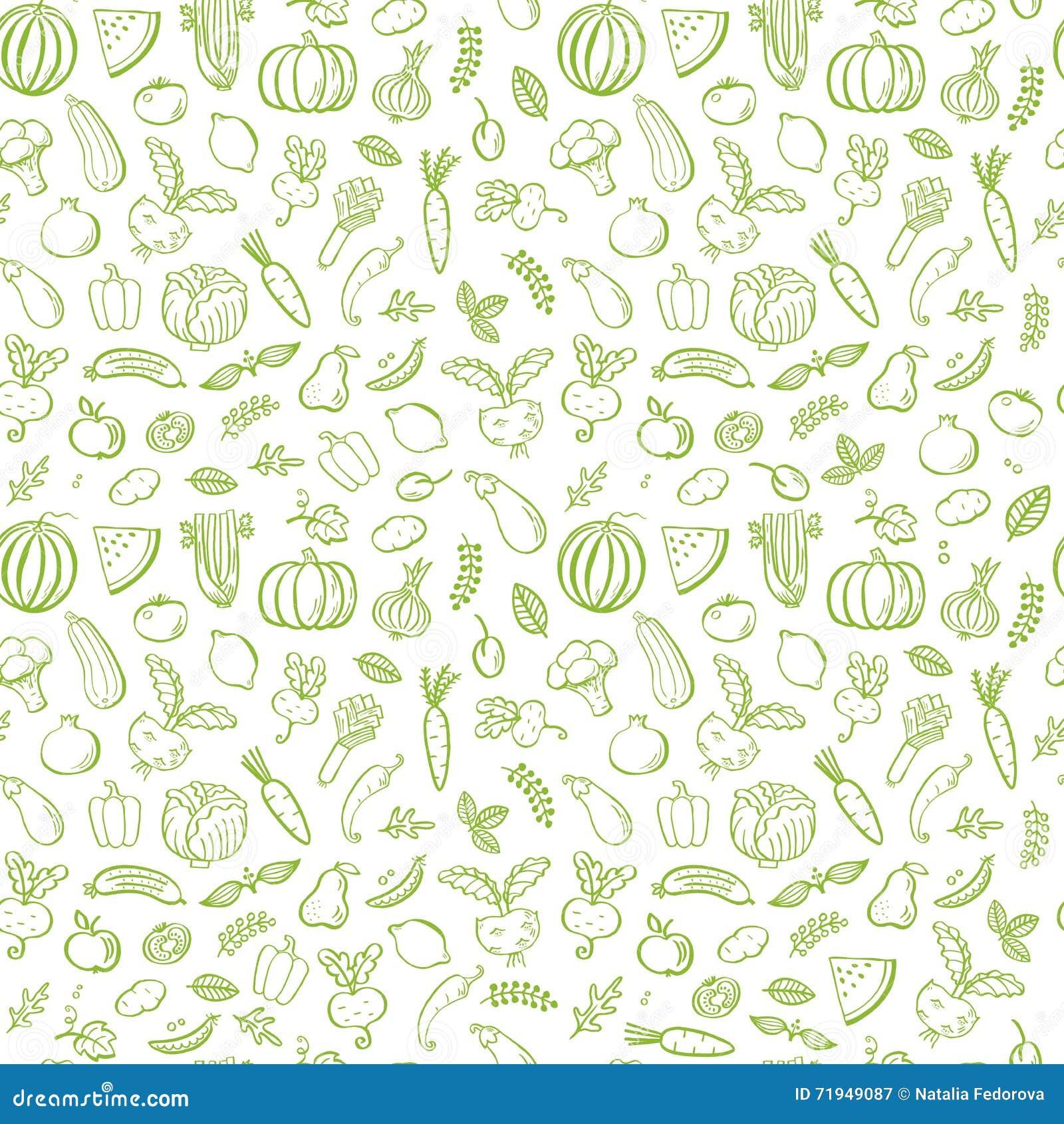 Картина зеленых овощей безшовная