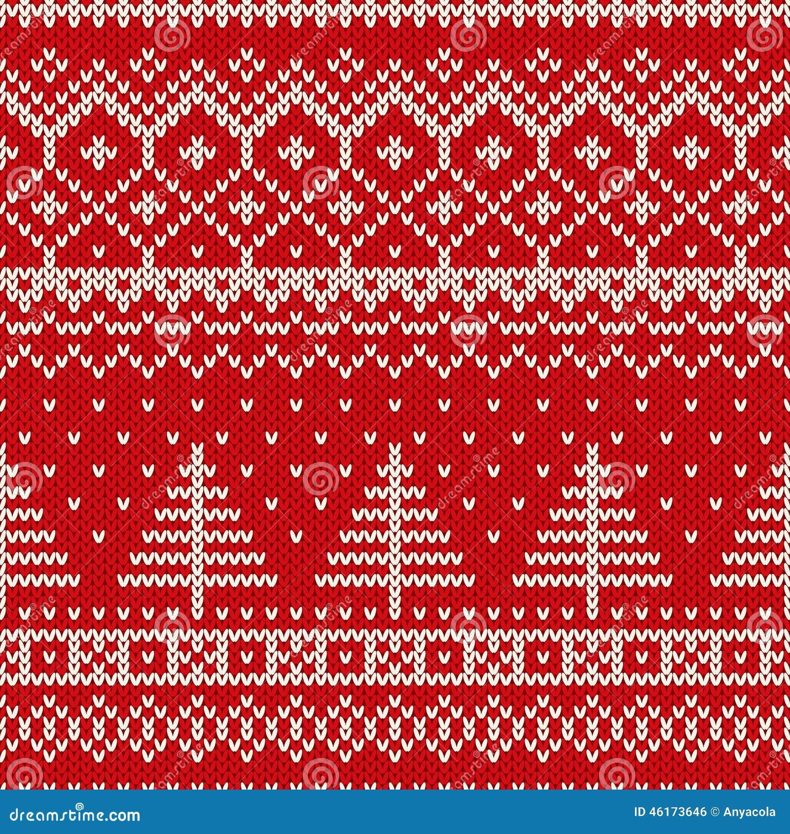 Картина зимнего отдыха безшовная вязать с рождественской елкой