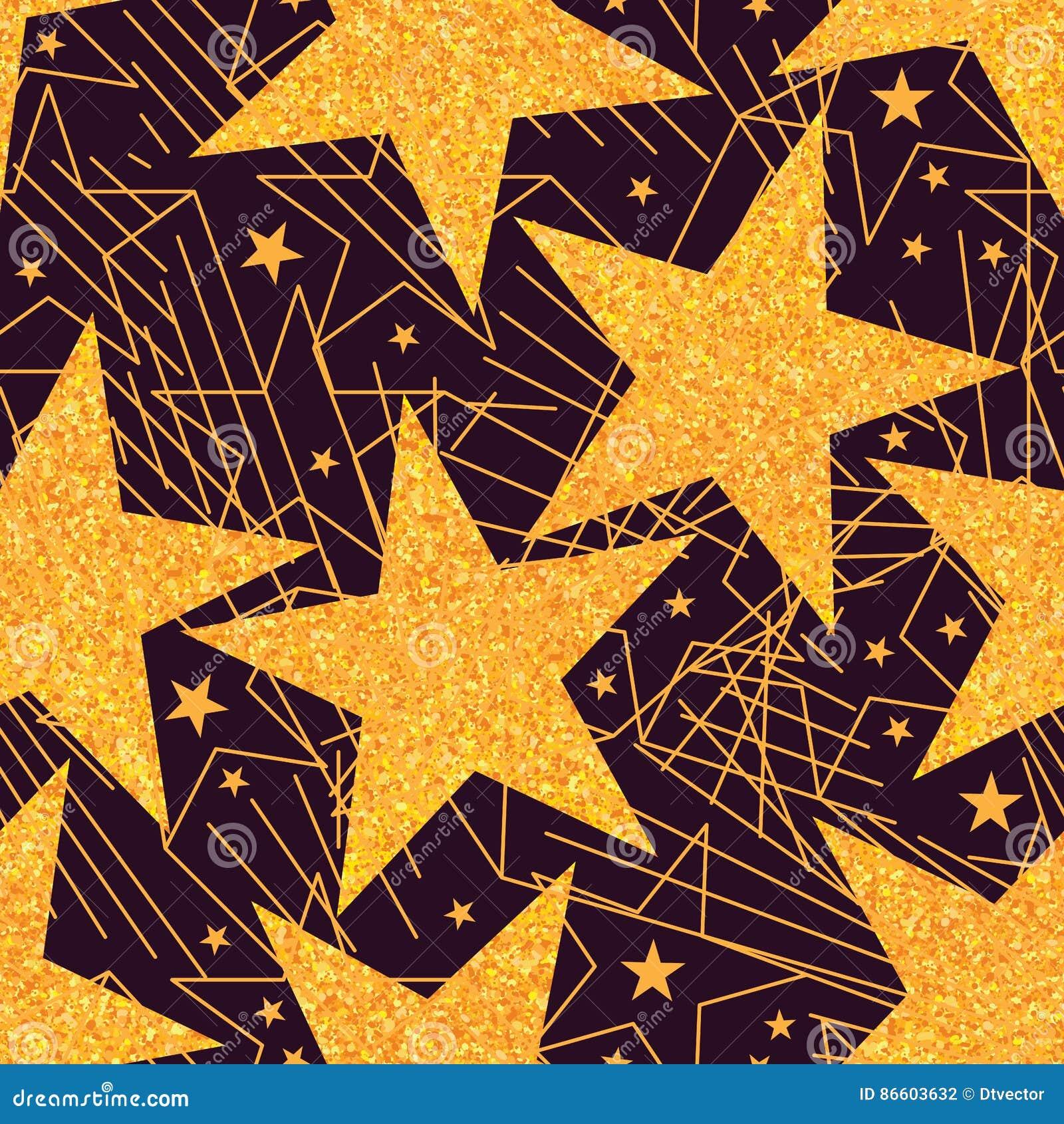 Картина золотого яркого блеска звезды большая безшовная