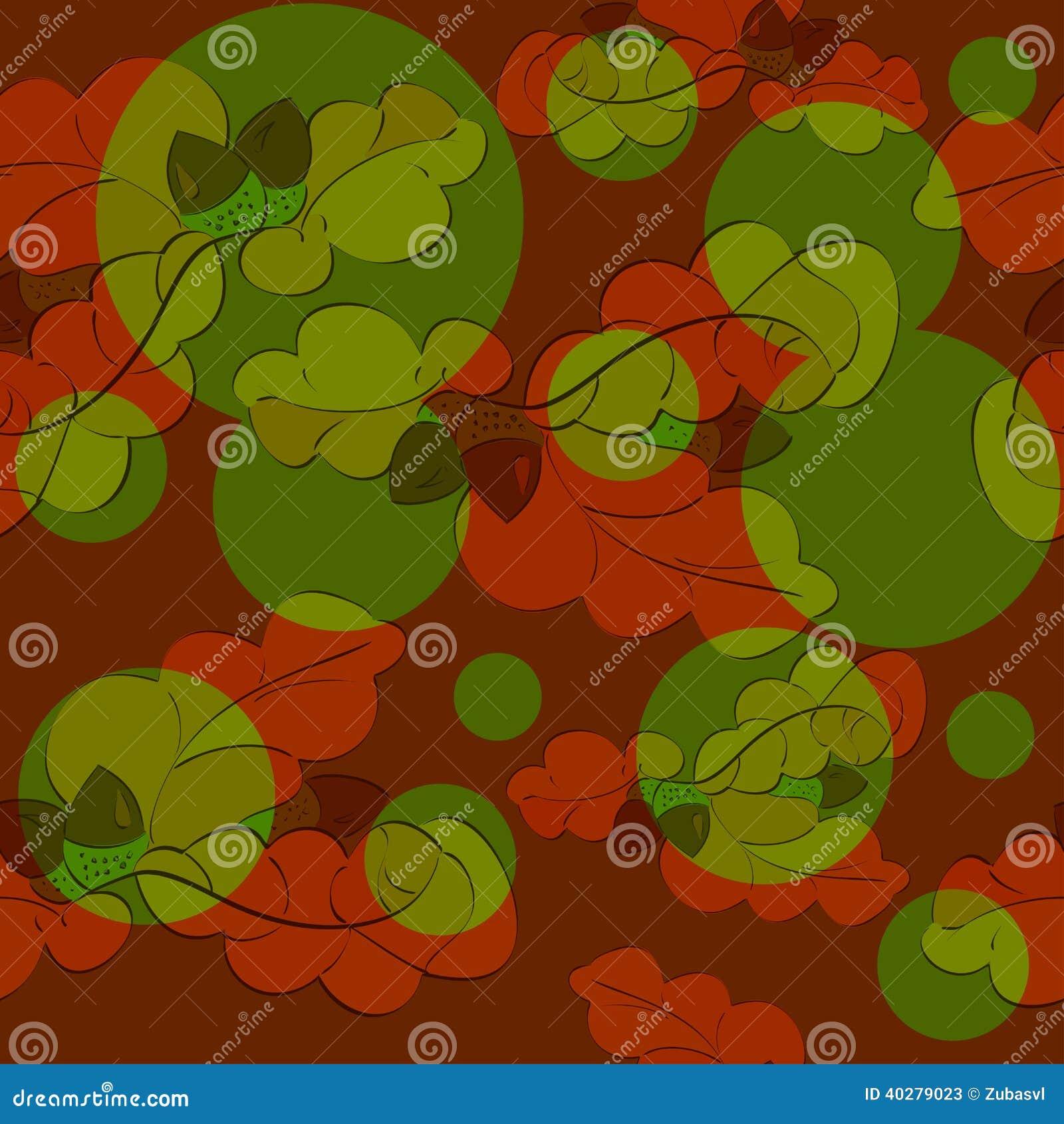 Картина листьев и жолудей дуба безшовная