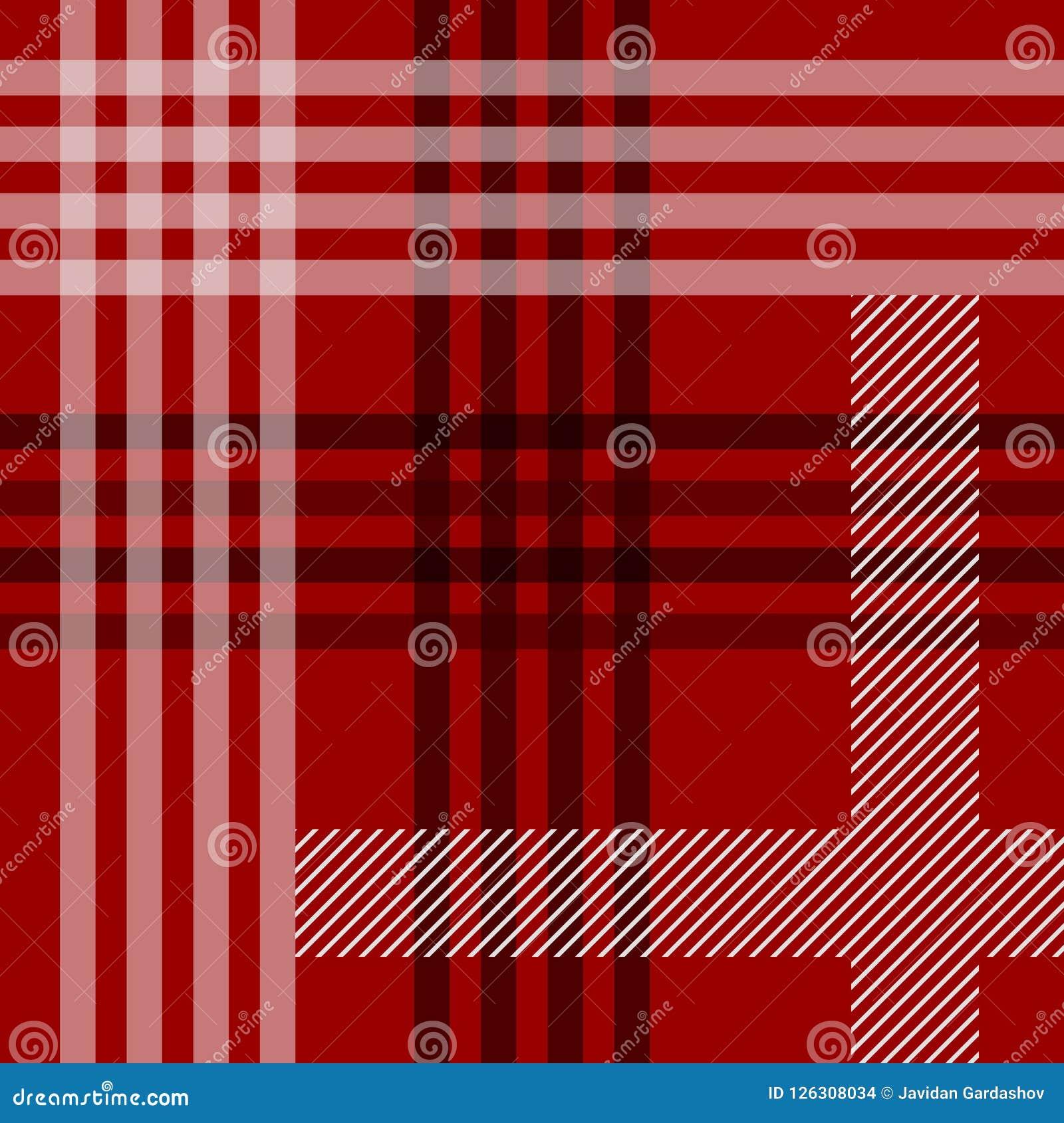 Картина красной черно-белой ткани тартана традиционной безшовная, вектор