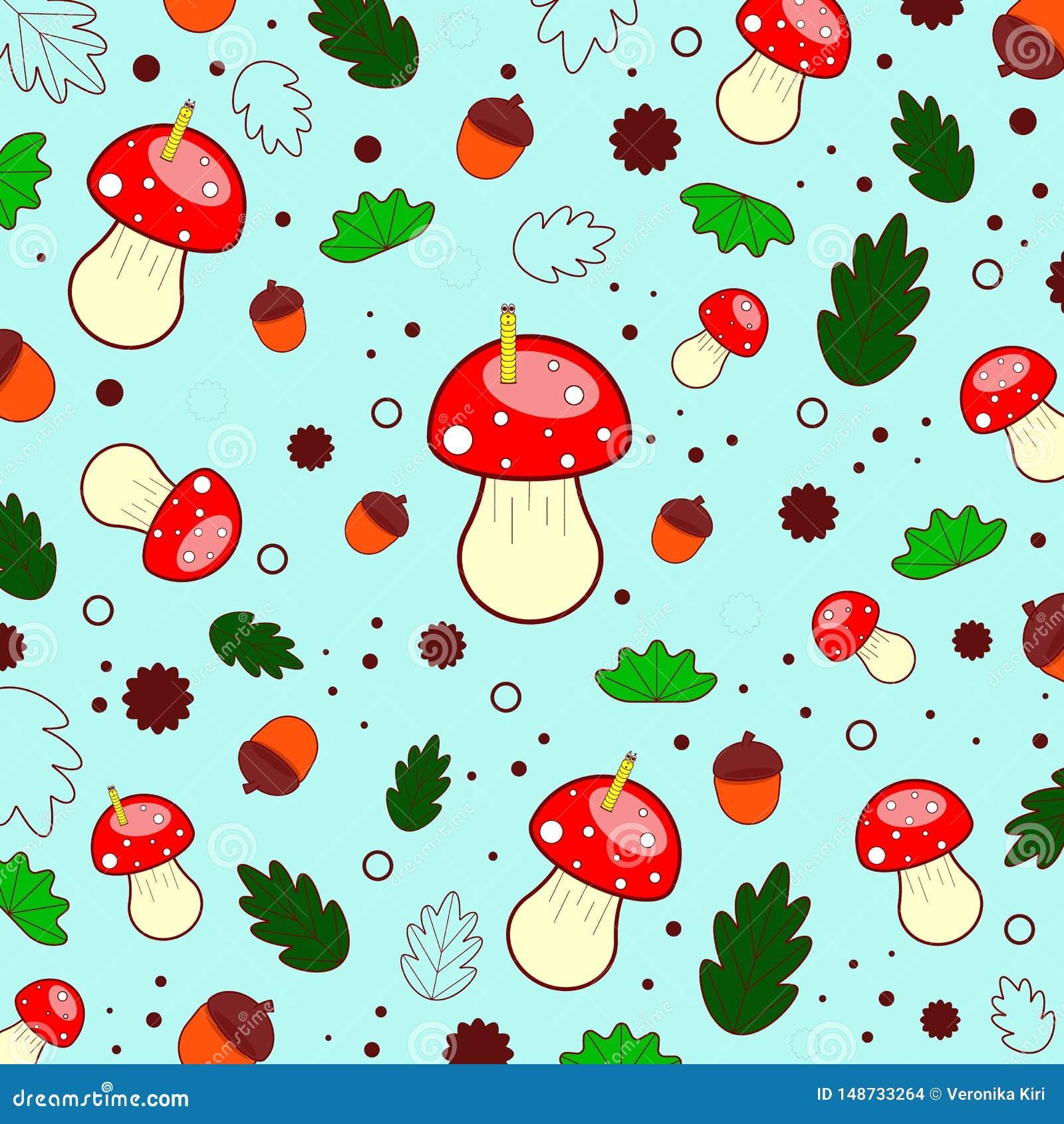 Картина лета леса грибов, листьев, жолудей, кругов, червей E Illustaration вектора