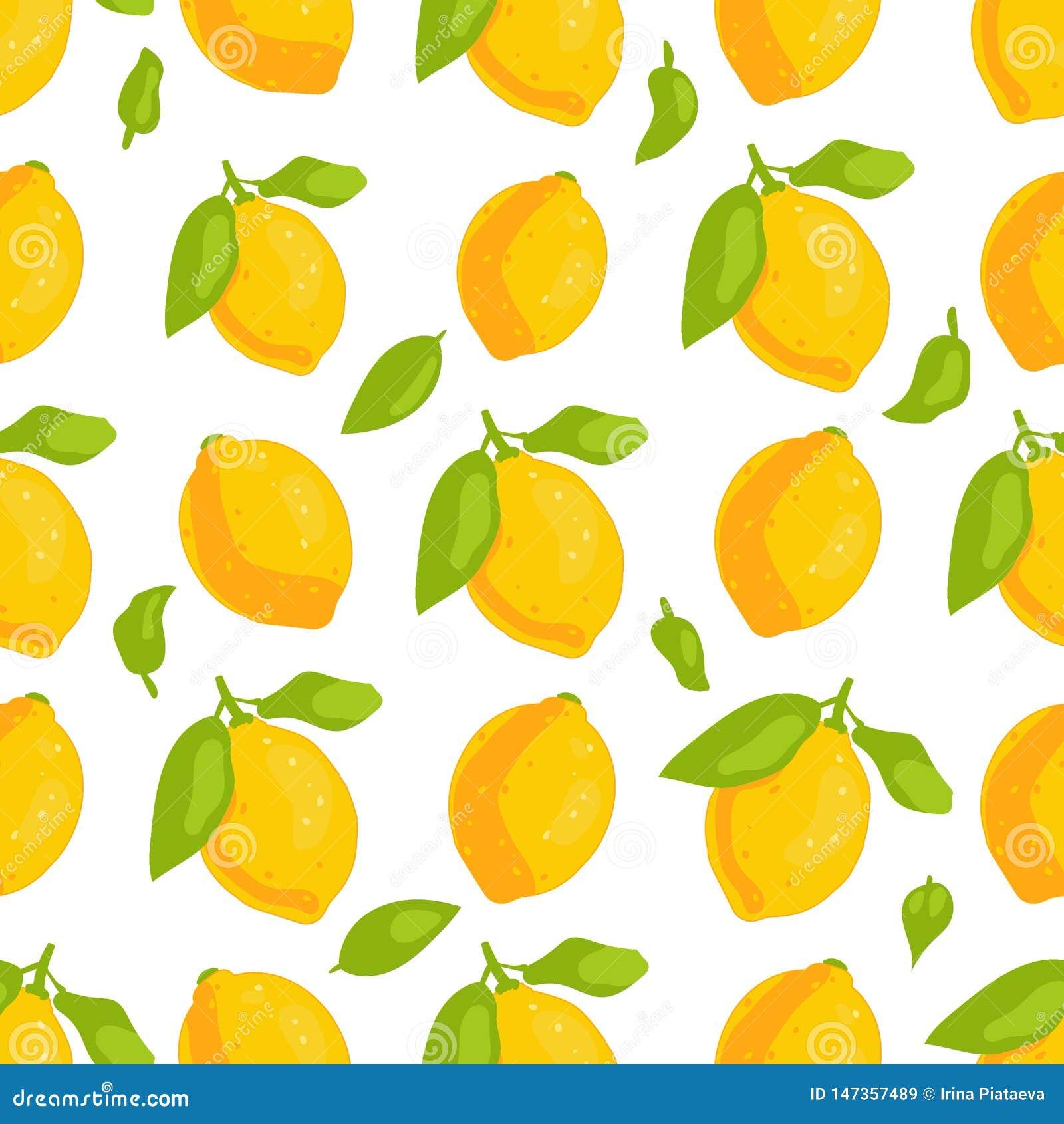 Картина лимонов тропического плода безшовная