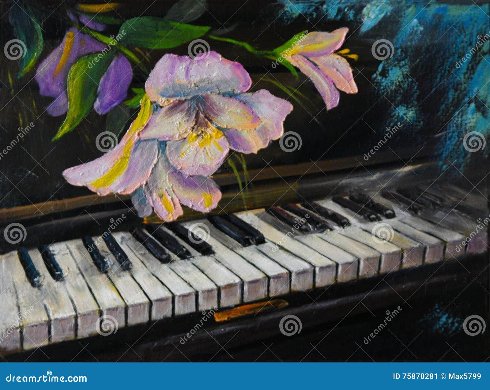 Картина маслом - рояль и цветки, год сбора винограда, художественное произведение