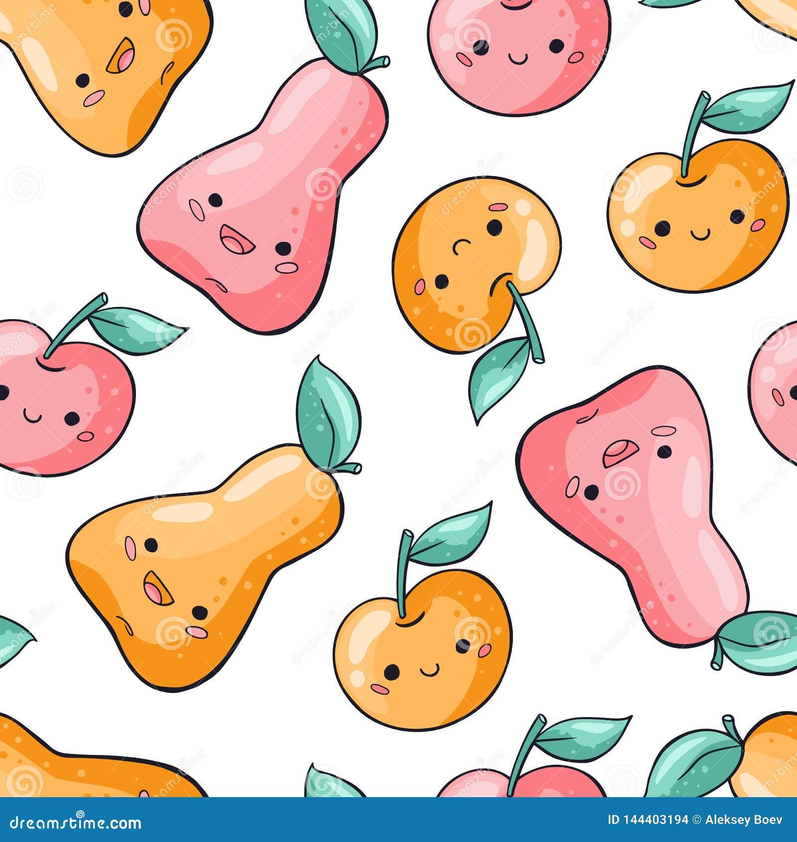 Картина милых плодов мультфильма безшовная на белой предпосылке Картина здоровой еды безшовная в стиле doodle Груша Kawaii