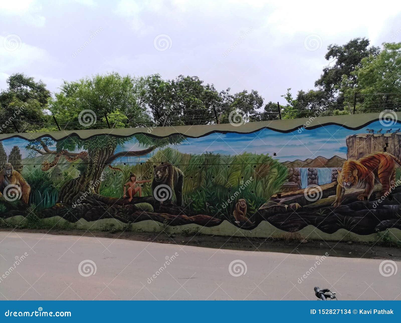 Картина на стене местным художником