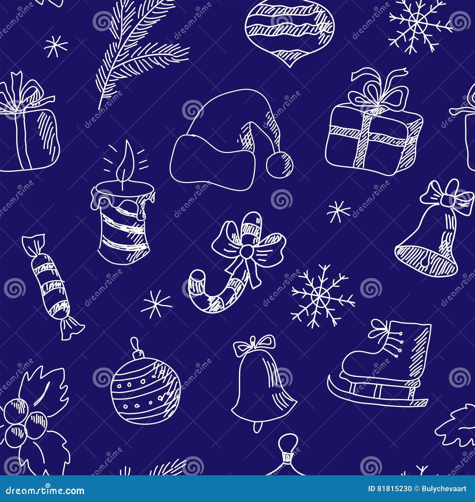 Картина Нового Года безшовная с элементами зимнего отдыха
