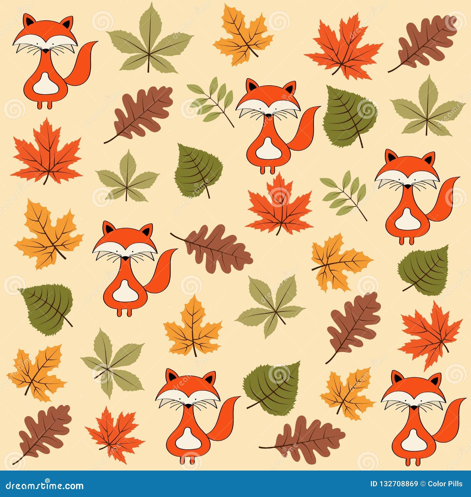 Картина осени безшовная с листьями и лисами