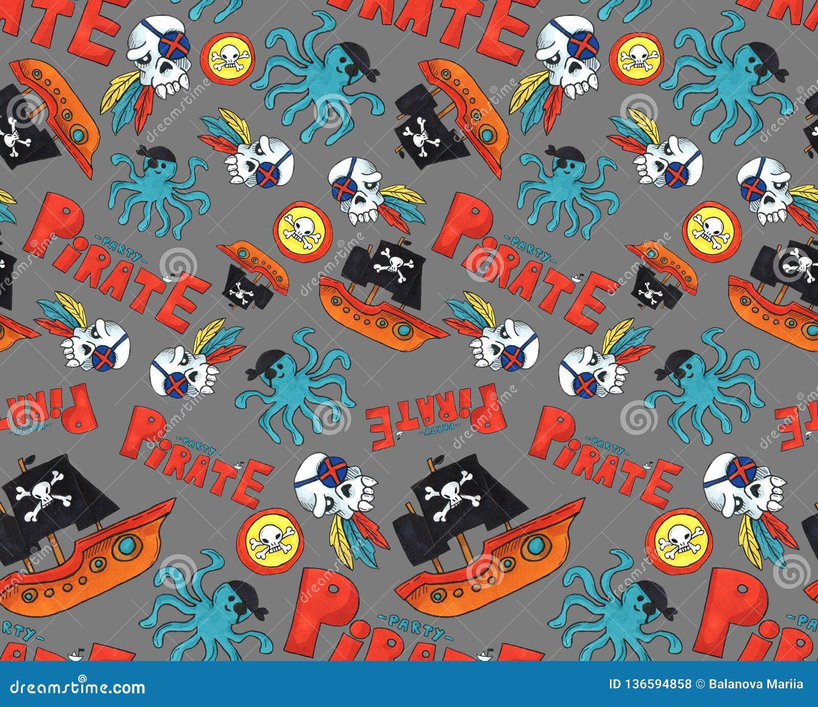 Картина партии пирата безшовная красочные объекты повторяя предпосылку для сети и цели печати искусство отметки