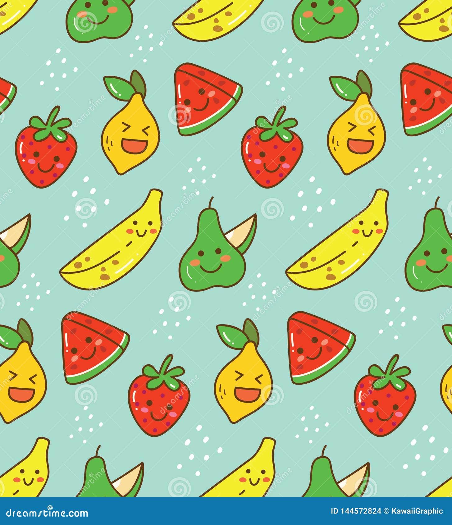 Картина плода Kawaii безшовная с лимоном, клубникой etc