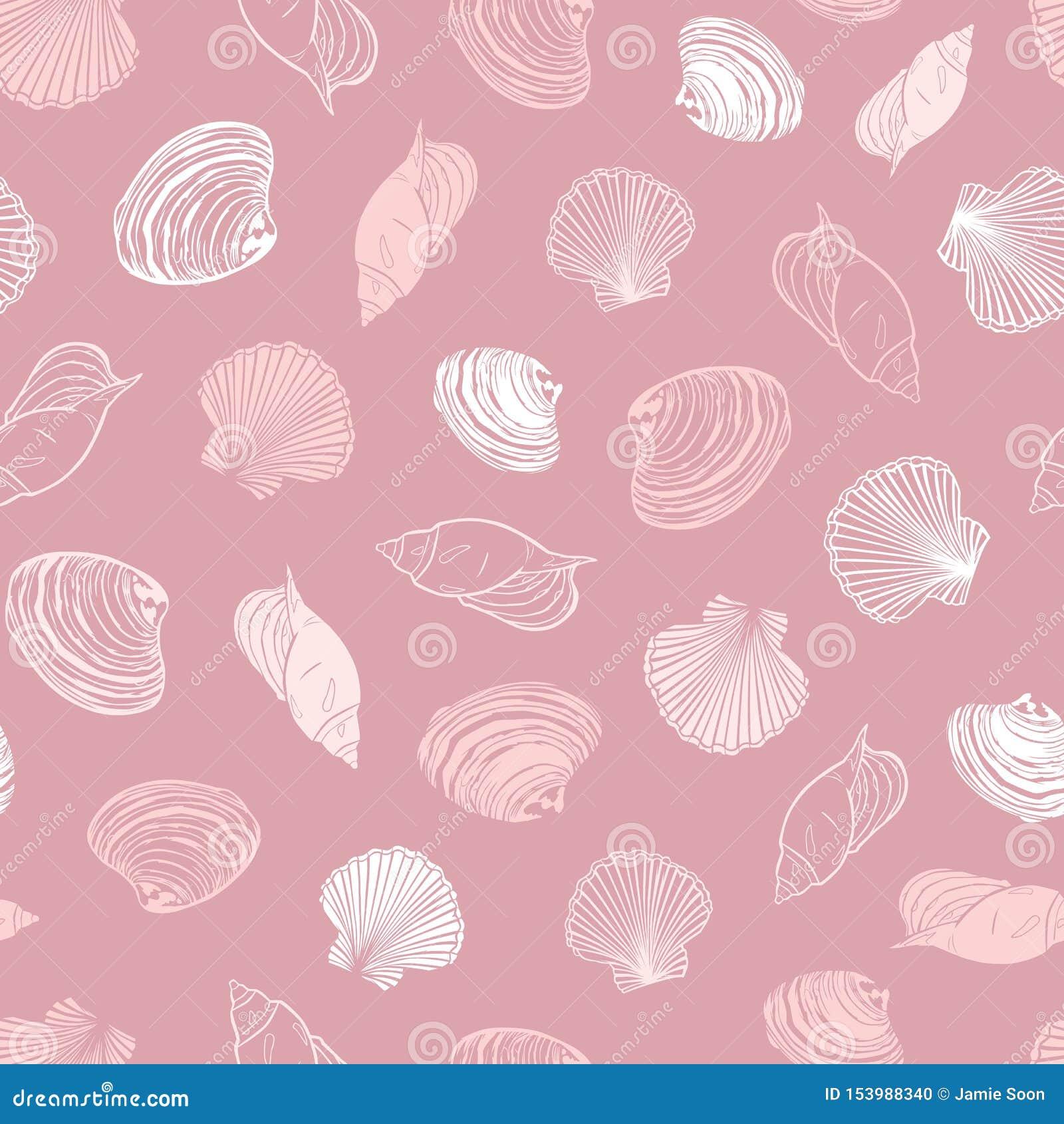 Картина повторения коралла вектора розовая с разнообразием seashells Улучшите для приветствий, приглашений, упаковочной бумаги, т