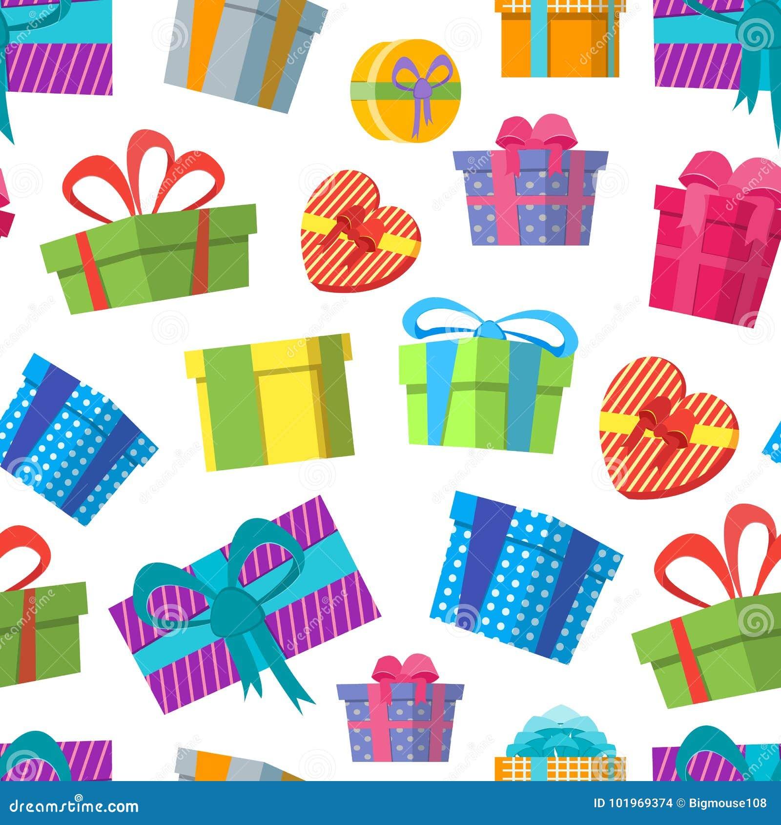Картина предпосылки подарочных коробок цвета шаржа на белизне вектор