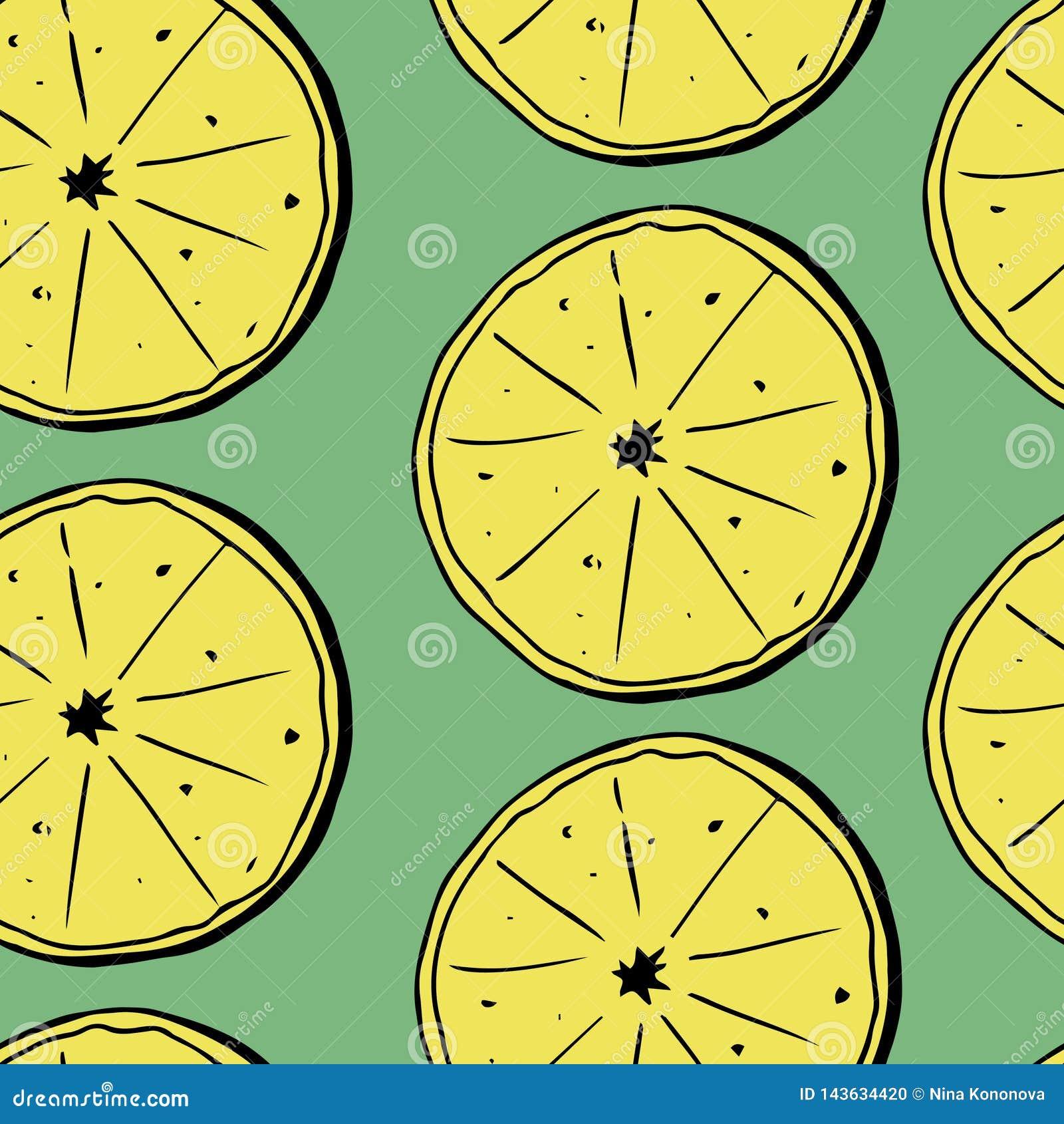 Картина притяжки руки безшовная лимонов с листьями также вектор иллюстрации притяжки corel