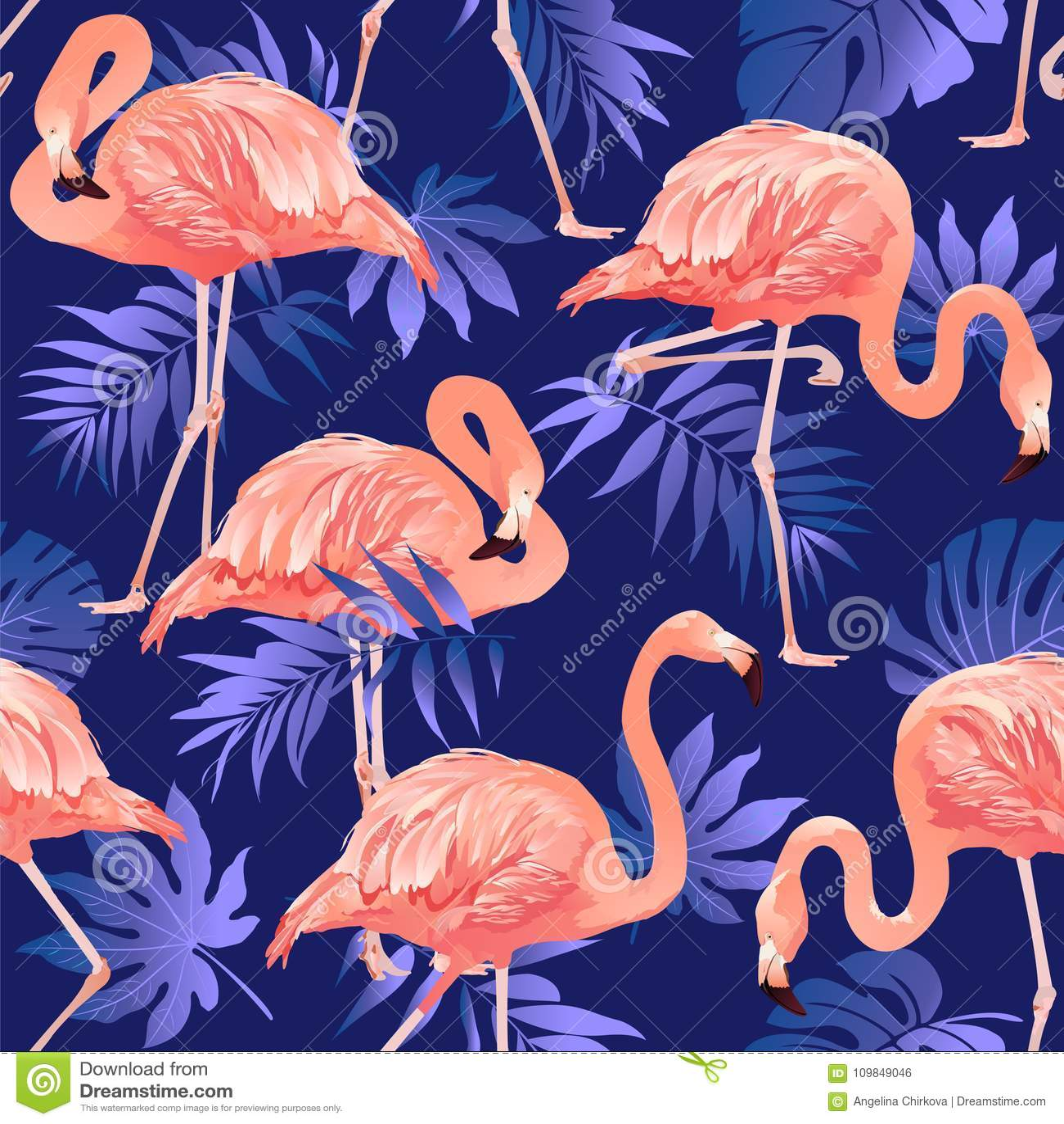 Картина птицы фламинго и тропической предпосылки цветков безшовная