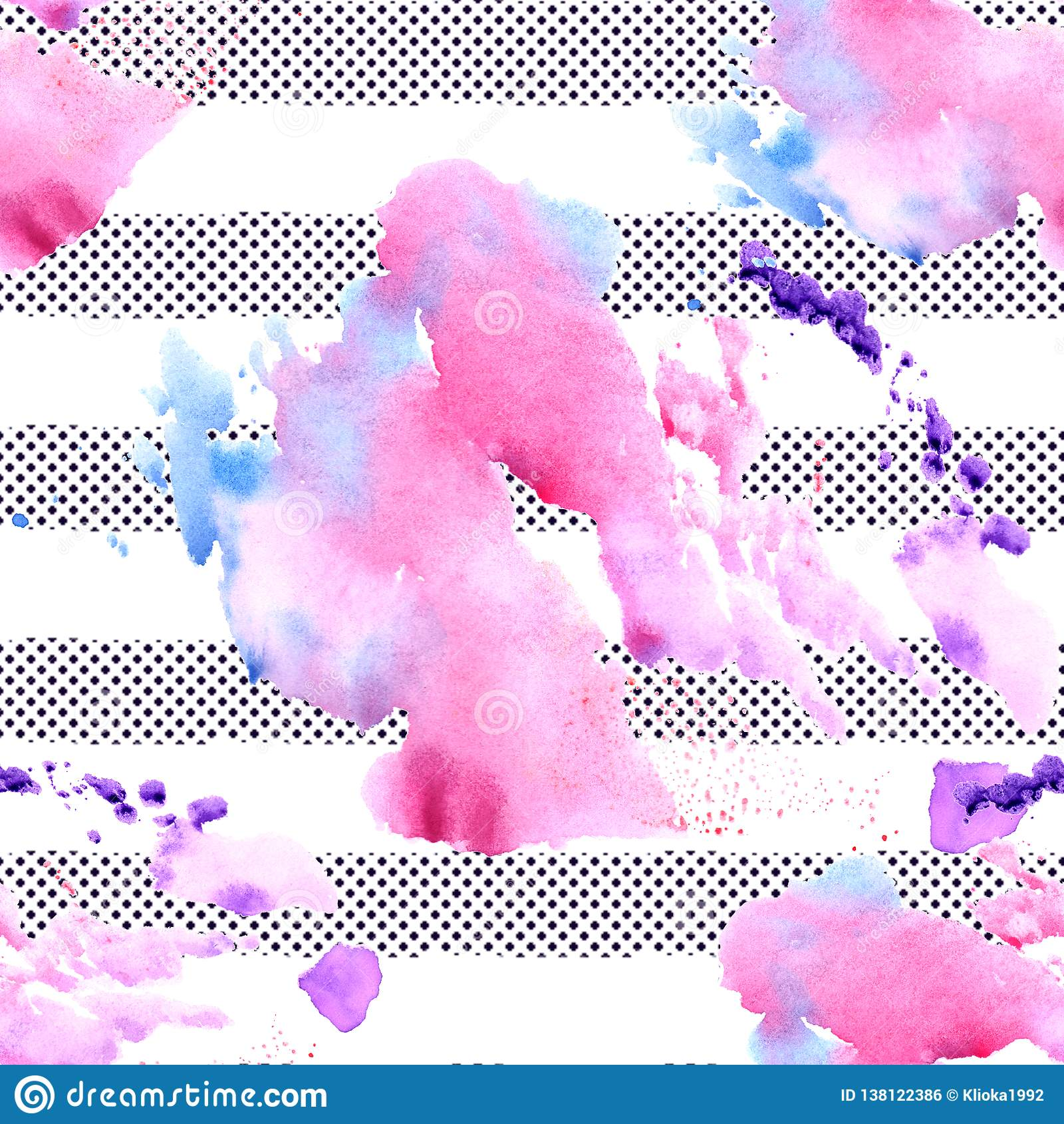 Картина пятна акварели striped безшовная Покрашенная рукой текстура акварели
