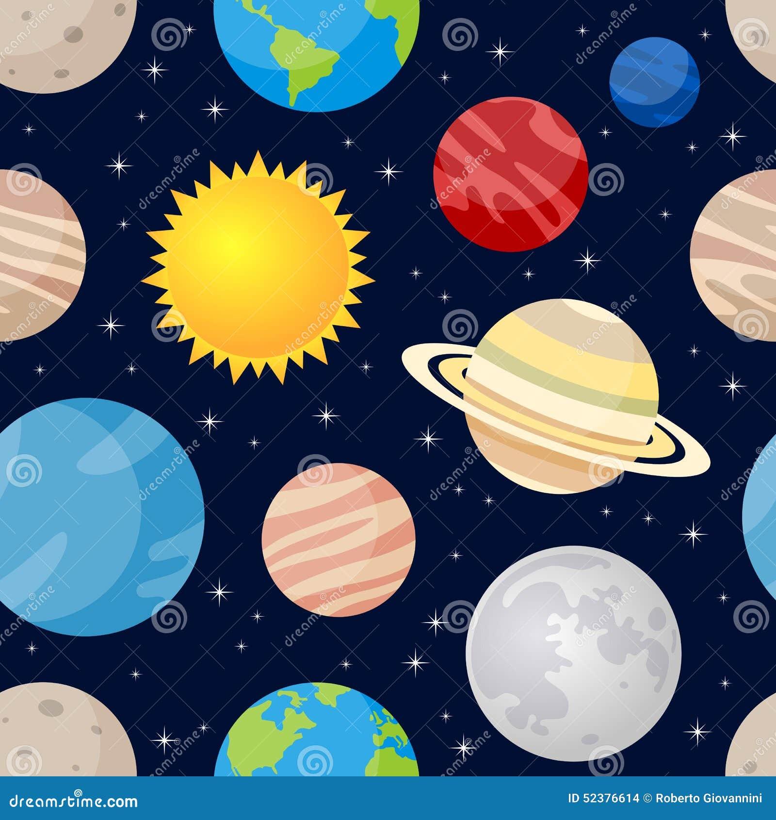 Картина планет и звезд безшовная