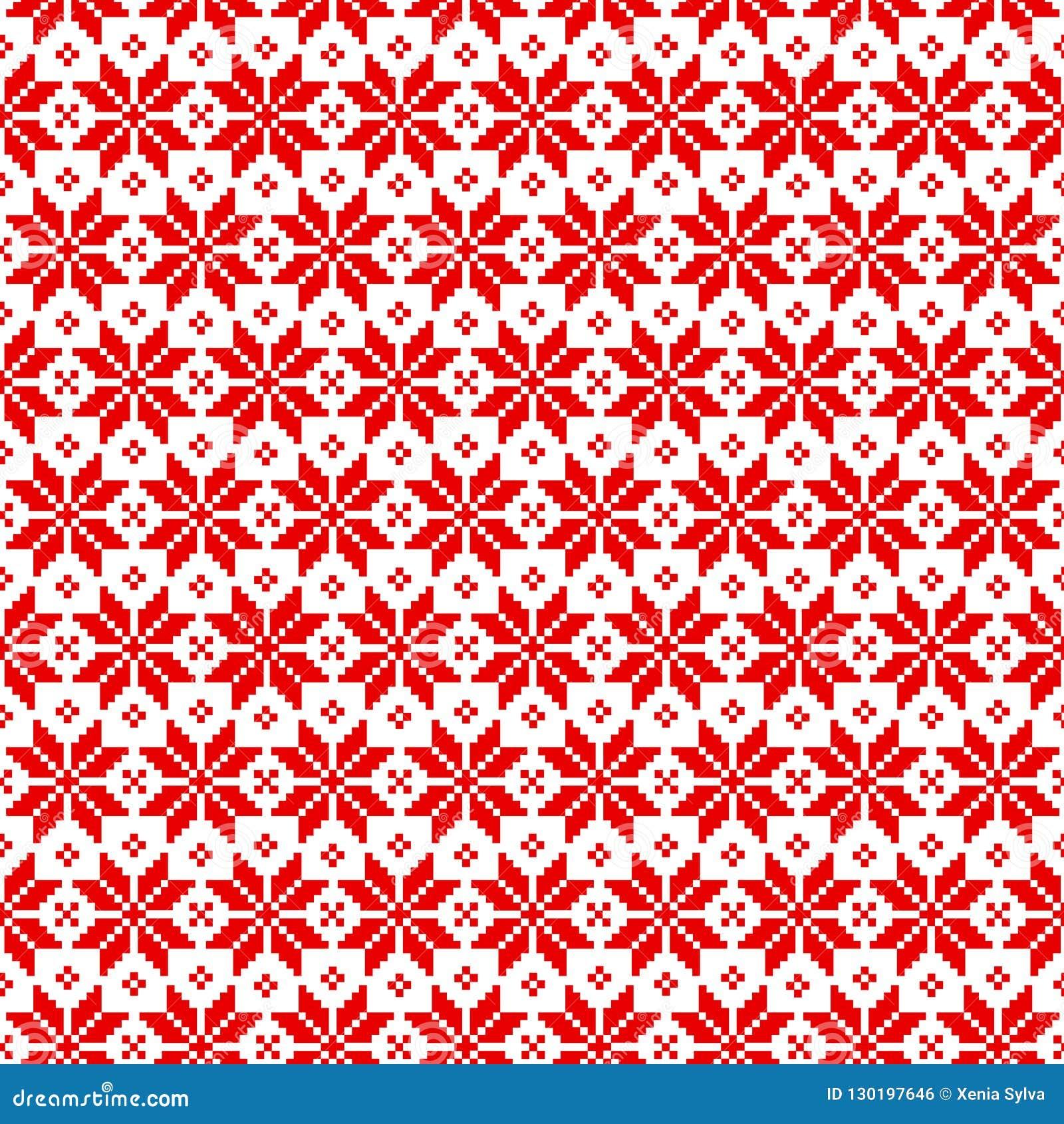 Картина рождества вектора безшовная для свитера с красными элементами на белой предпосылке