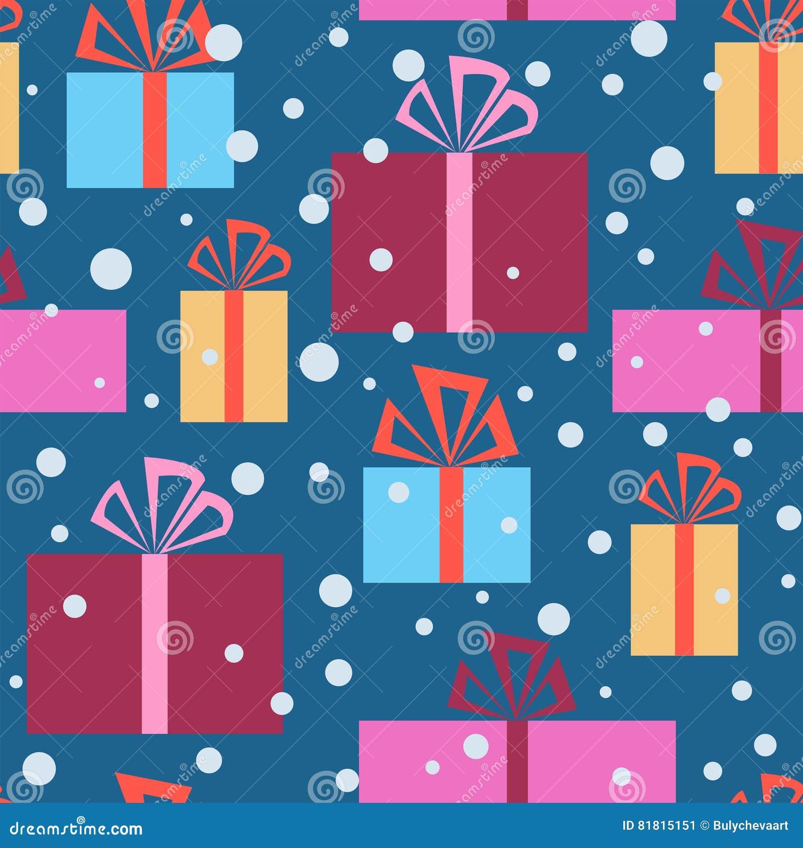 Картина рождества безшовная с подарочными коробками и снегом