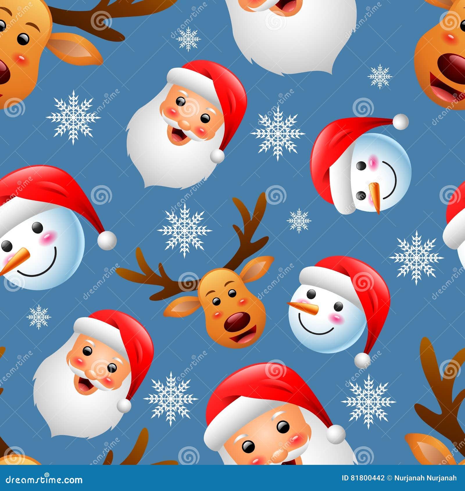 Картина рождества безшовная с счастливыми снеговиком, оленями и Санта Клаусом