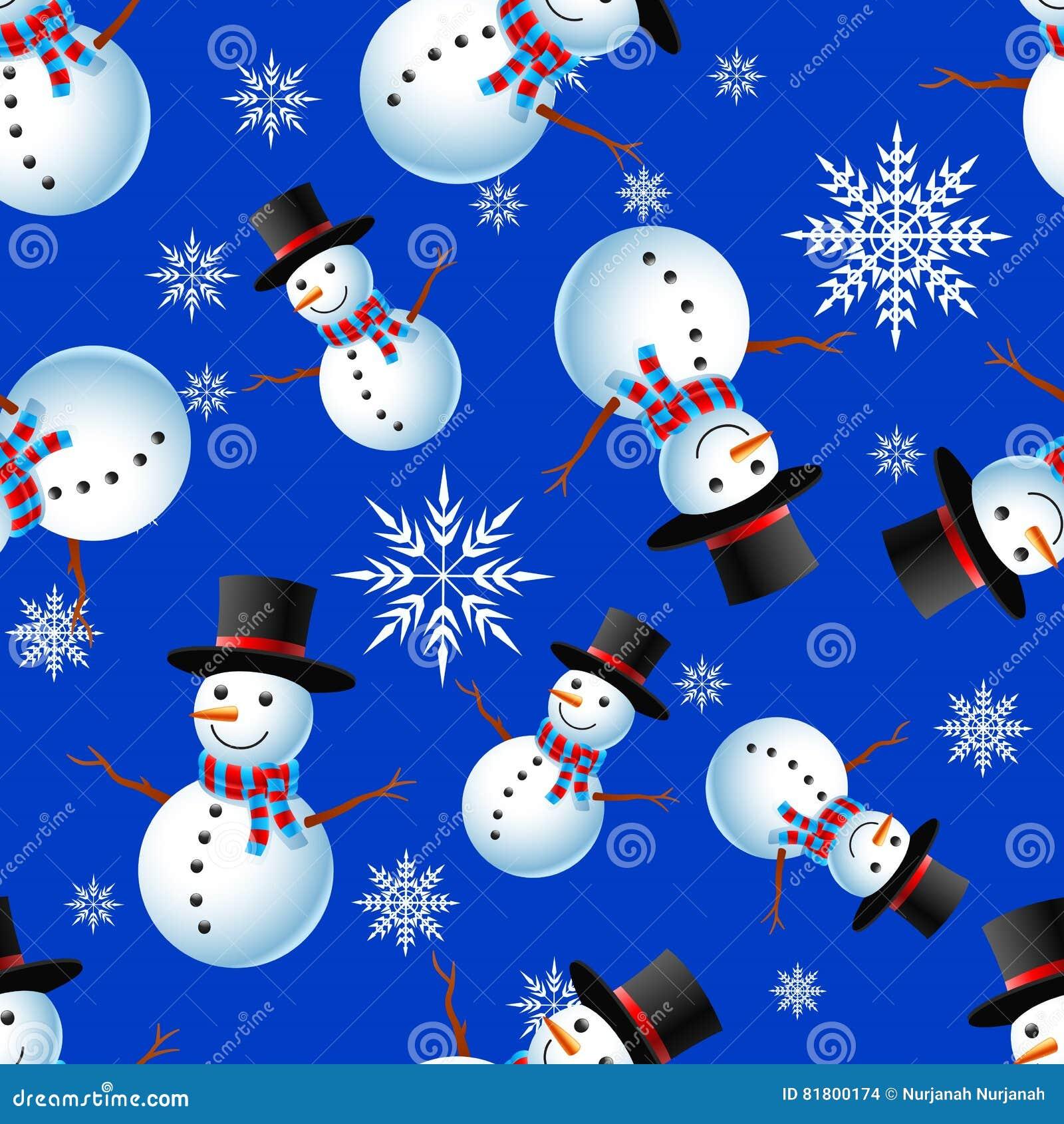 Картина рождества безшовная с счастливым снеговиком и хлопья на голубой предпосылке