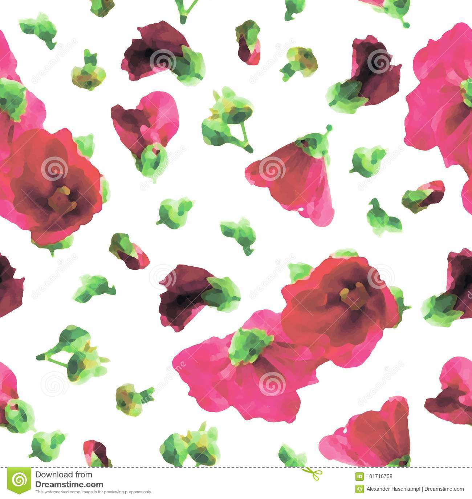 Картина розовых Hollyhocks безшовная - иллюстрация