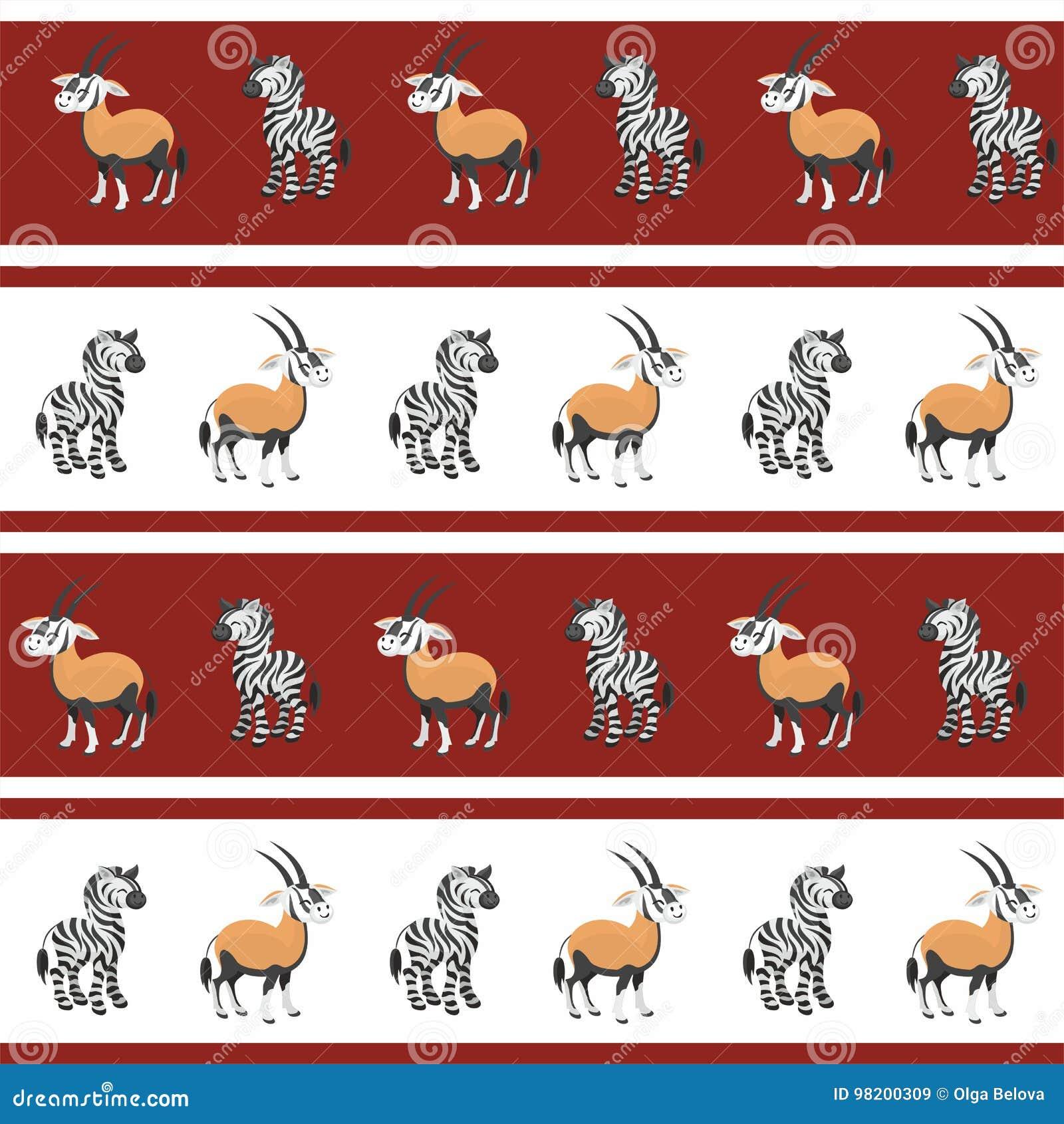 Download Картина сернобыка и зебры иллюстрация вектора. иллюстрации насчитывающей новичок - 98200309