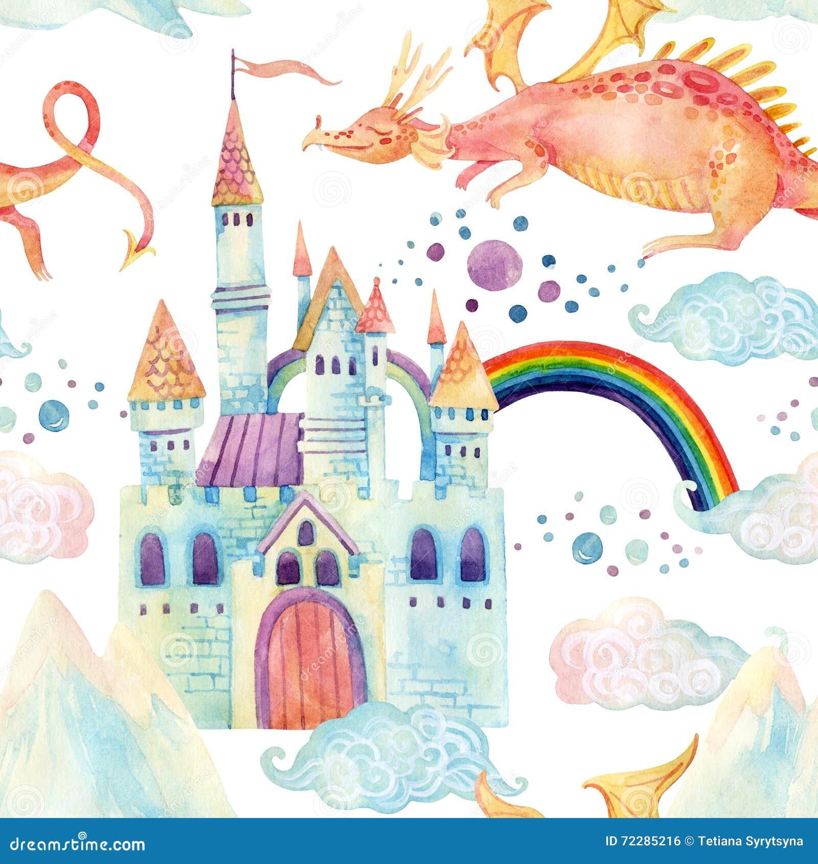Download Картина сказки акварели безшовная с милым драконом, волшебным замком, горами и феей заволакивает Иллюстрация штока - иллюстрации насчитывающей день, волшебник: 72285216