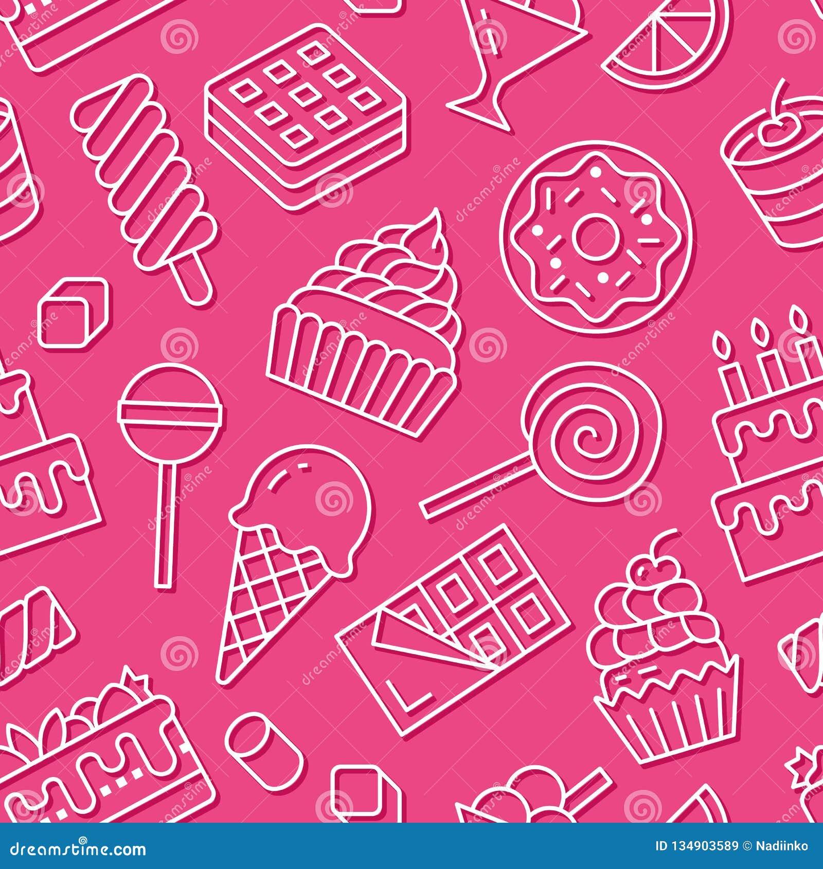 Картина сладкой еды безшовная с плоской линией значками Иллюстрации вектора печенья - леденец на палочке, шоколадный батончик, mi