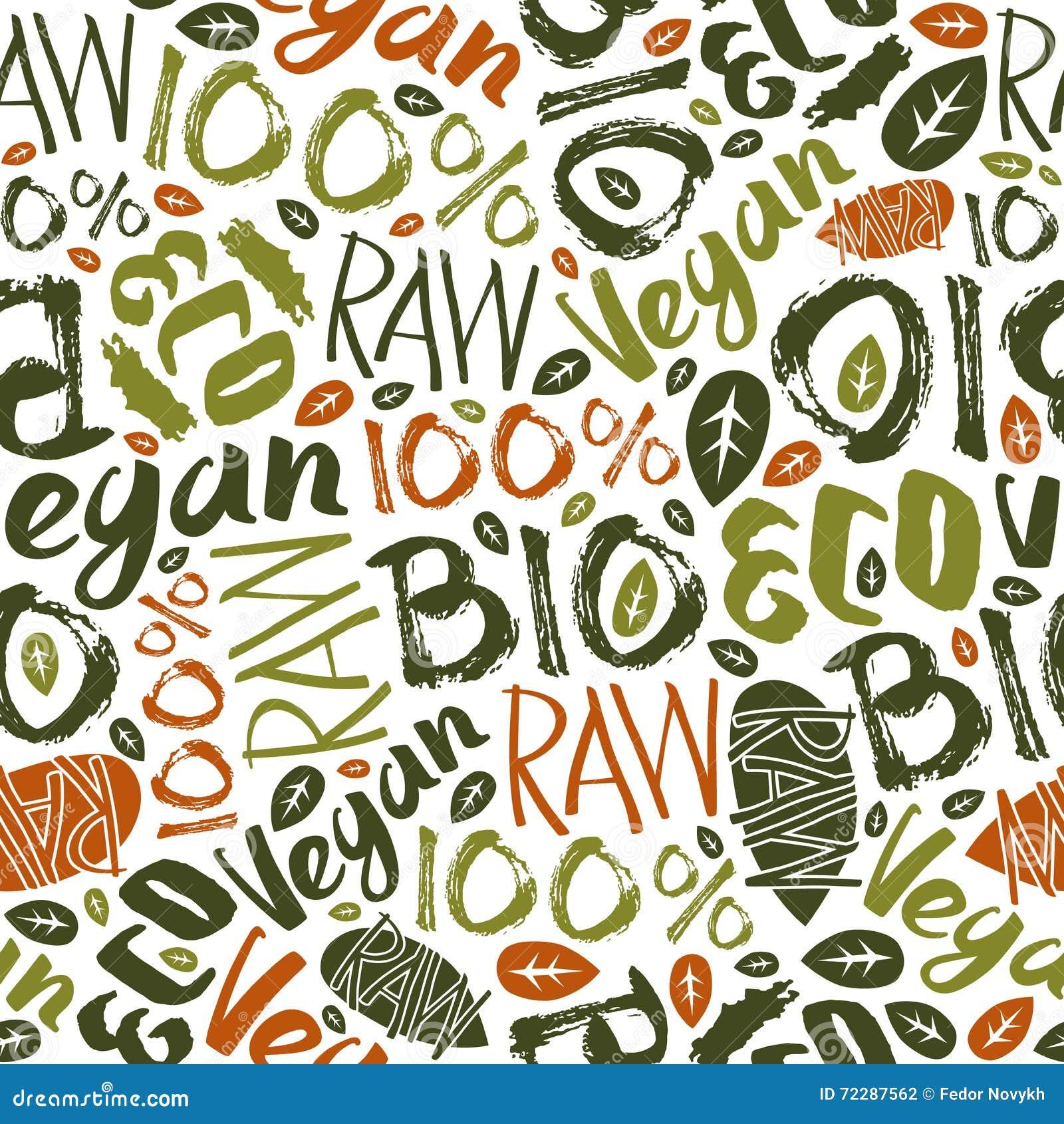 Download Картина сырцового Vegan безшовная Иллюстрация вектора - иллюстрации насчитывающей каллиграфия, продукт: 72287562